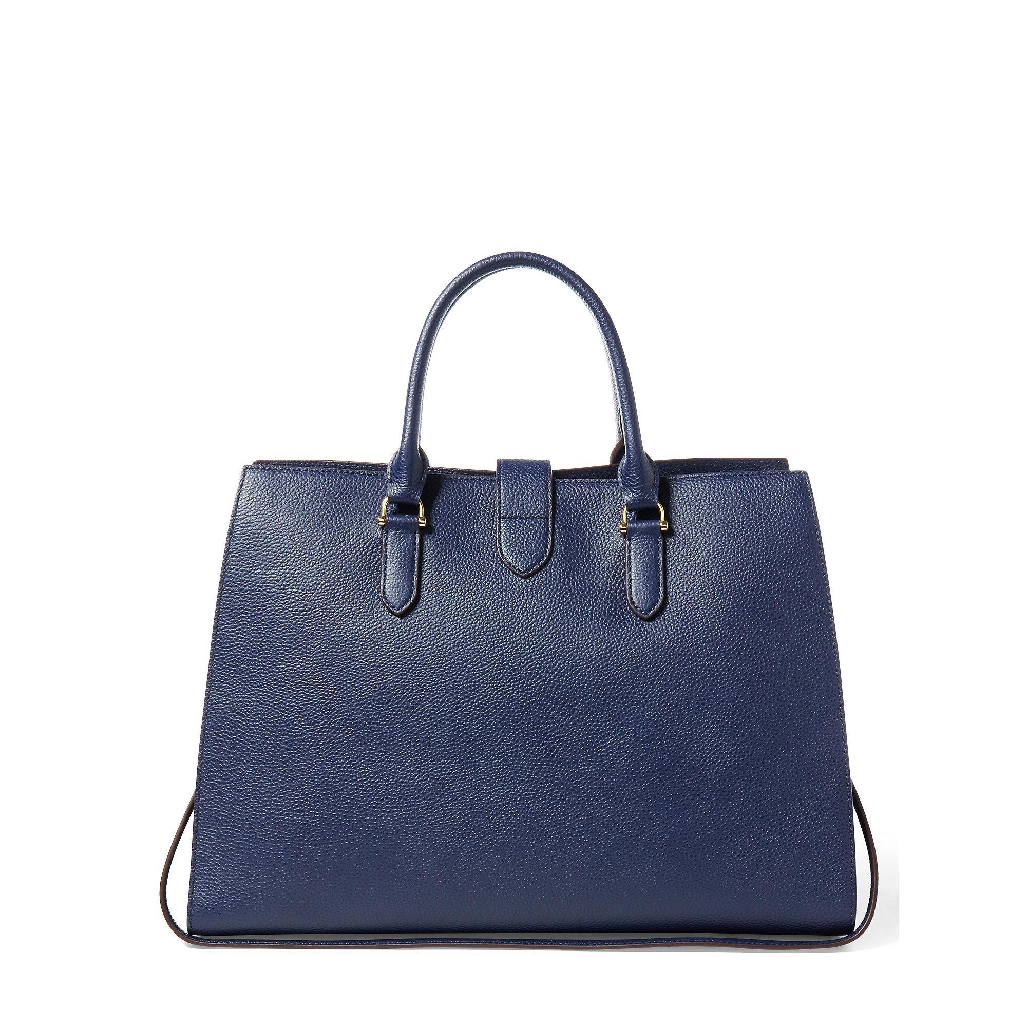 6f0e68b32e Lyst - Ralph Lauren Pebbled Leather Brigitte Tote in Blue