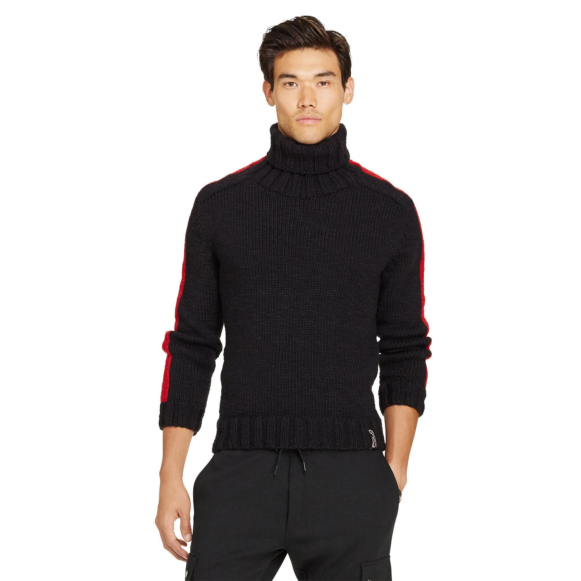 polo ralph lauren merino wool turtleneck sweater in black for men lyst. Black Bedroom Furniture Sets. Home Design Ideas