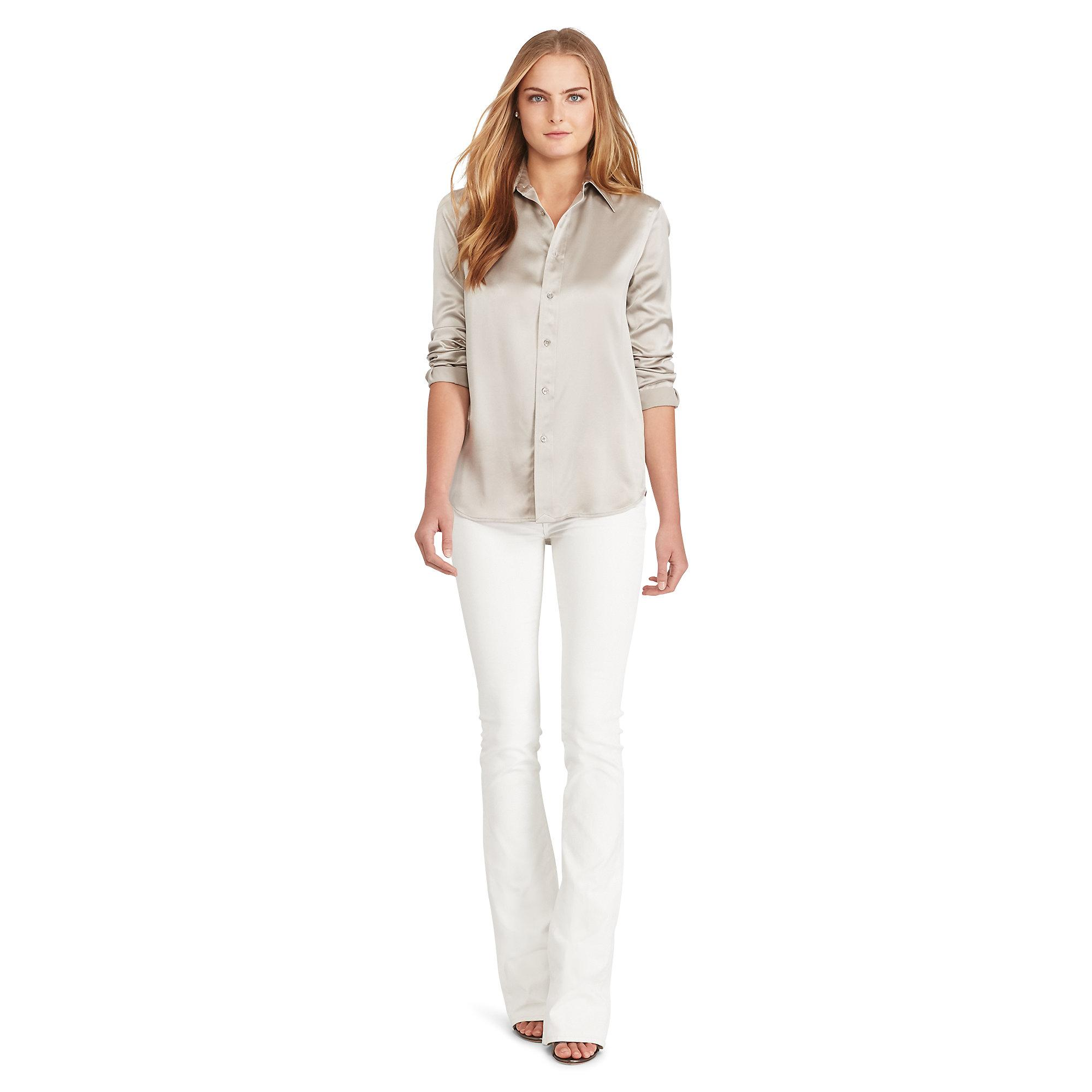 Polo Ralph Lauren Silk Charmeuse Shirt In Natural Lyst