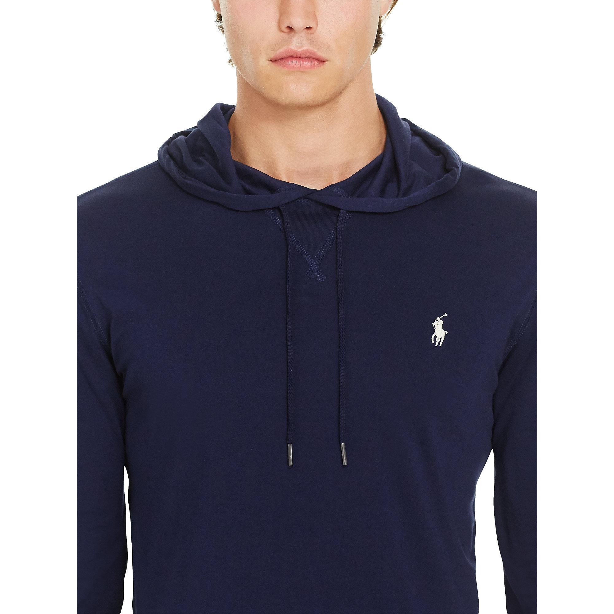 61a60bfa5 Polo Ralph Lauren Featherweight Pima Drawstring Hoodie in Blue for Men -  Lyst