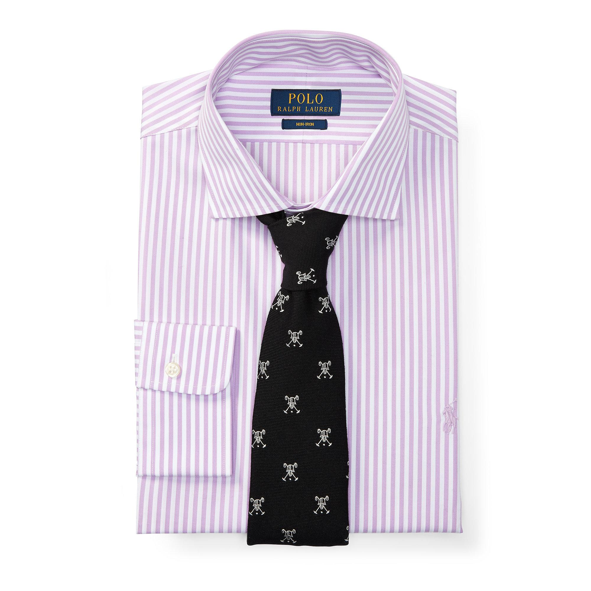 Polo ralph lauren no iron cotton dress shirt in purple for for Mens no iron dress shirts