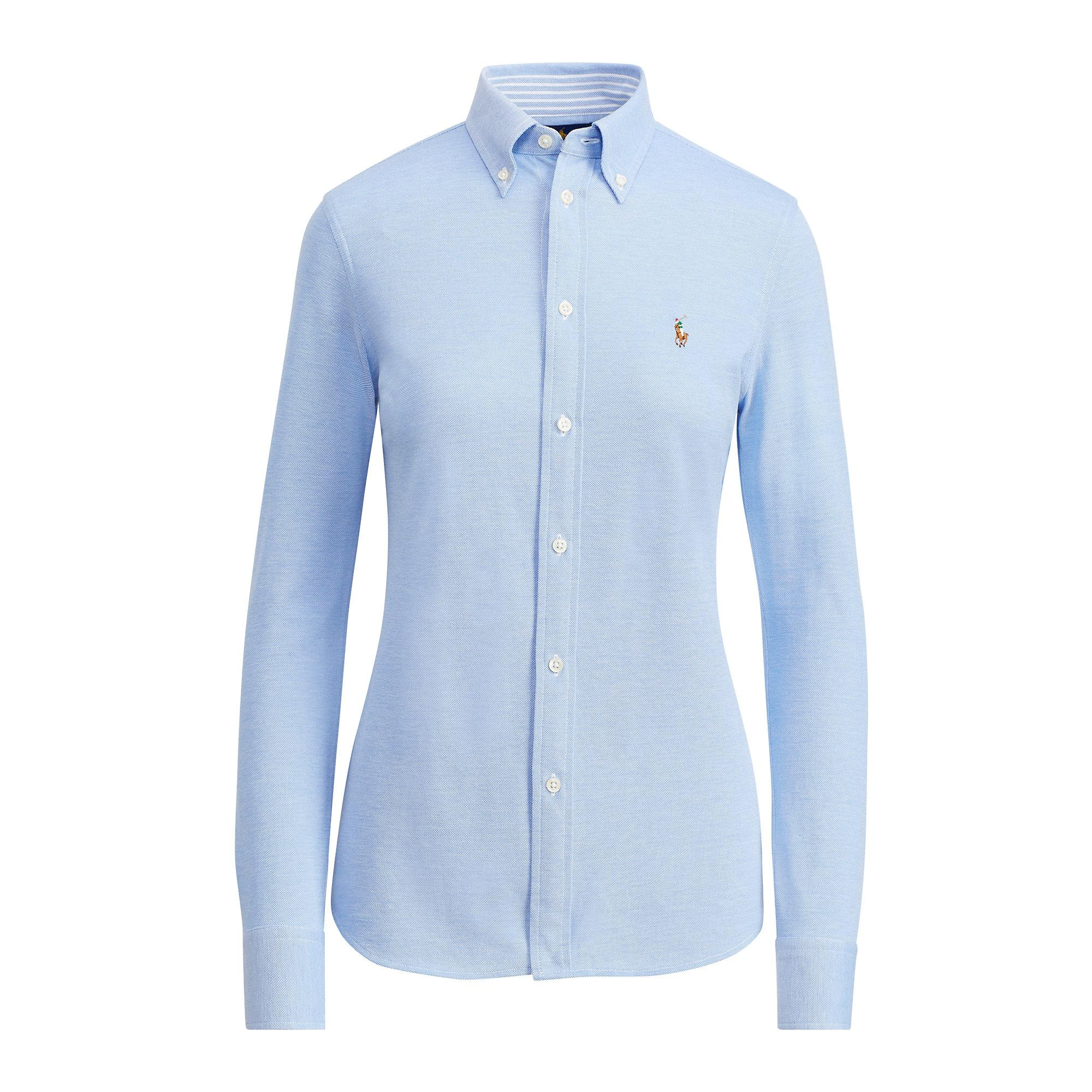 polo ralph lauren knit cotton oxford shirt in blue lyst