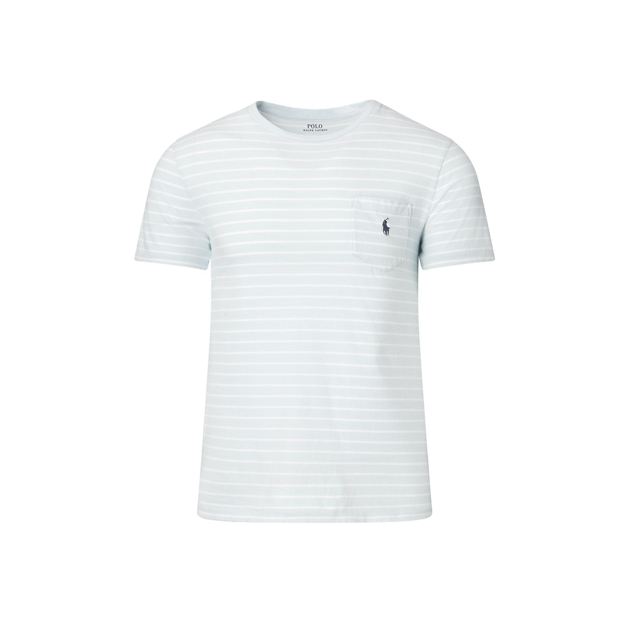 Polo ralph lauren cotton jersey pocket t shirt in white for Ralph lauren polo jersey shirt