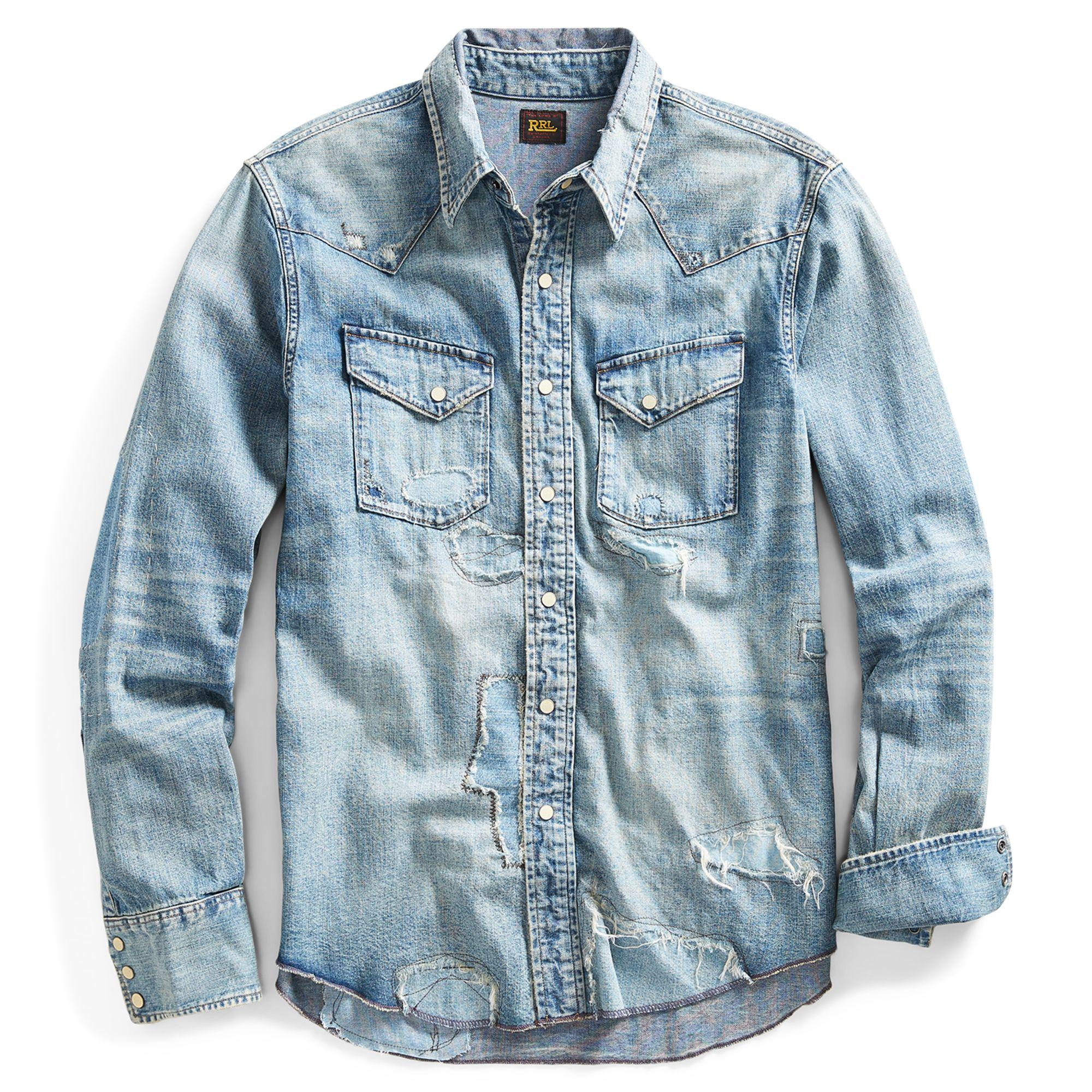 737036b1 RRL Distressed Denim Western Shirt in Blue for Men - Lyst