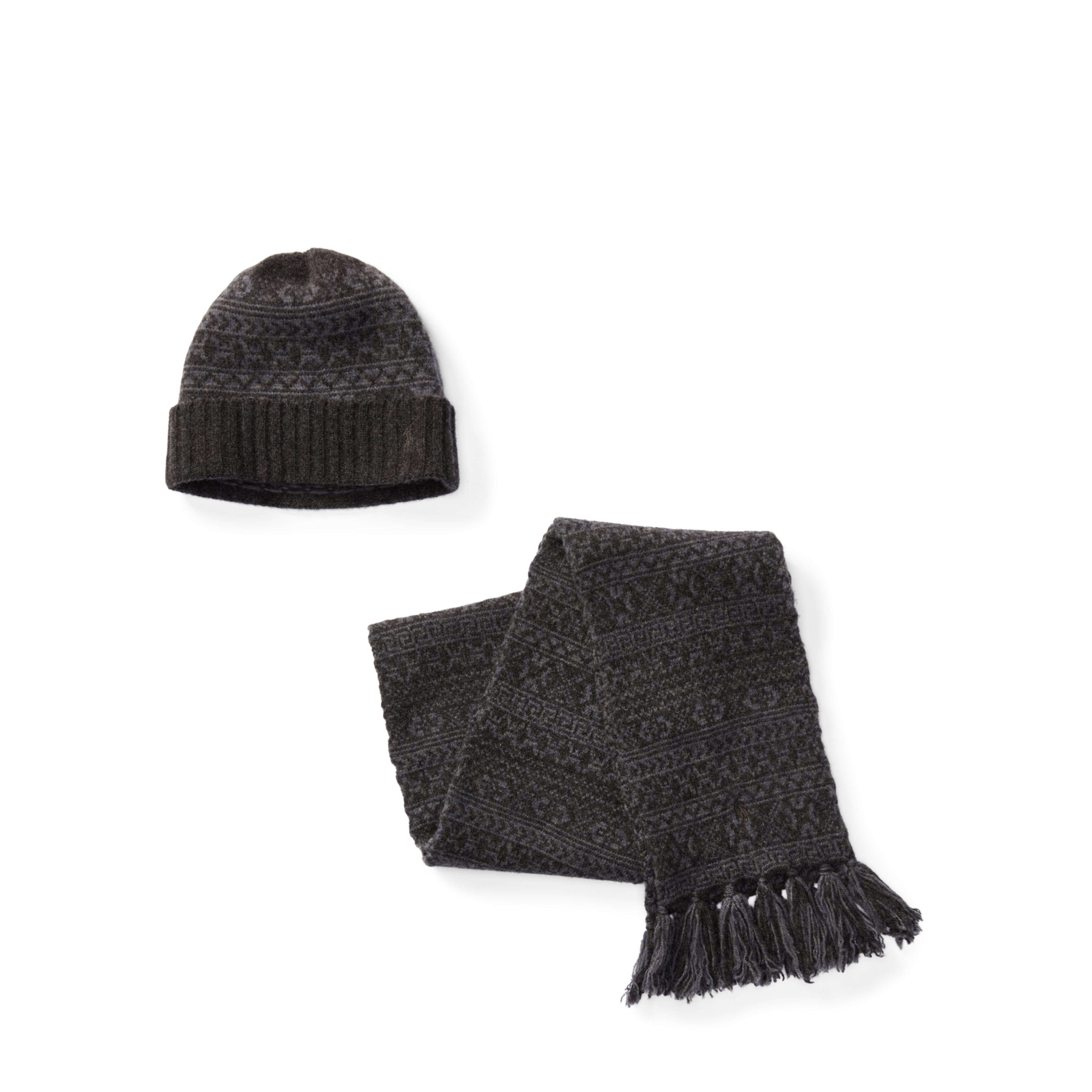9353fe582 coupon for polo ralph lauren fair isle hat scarf gift set in black for men  45f89