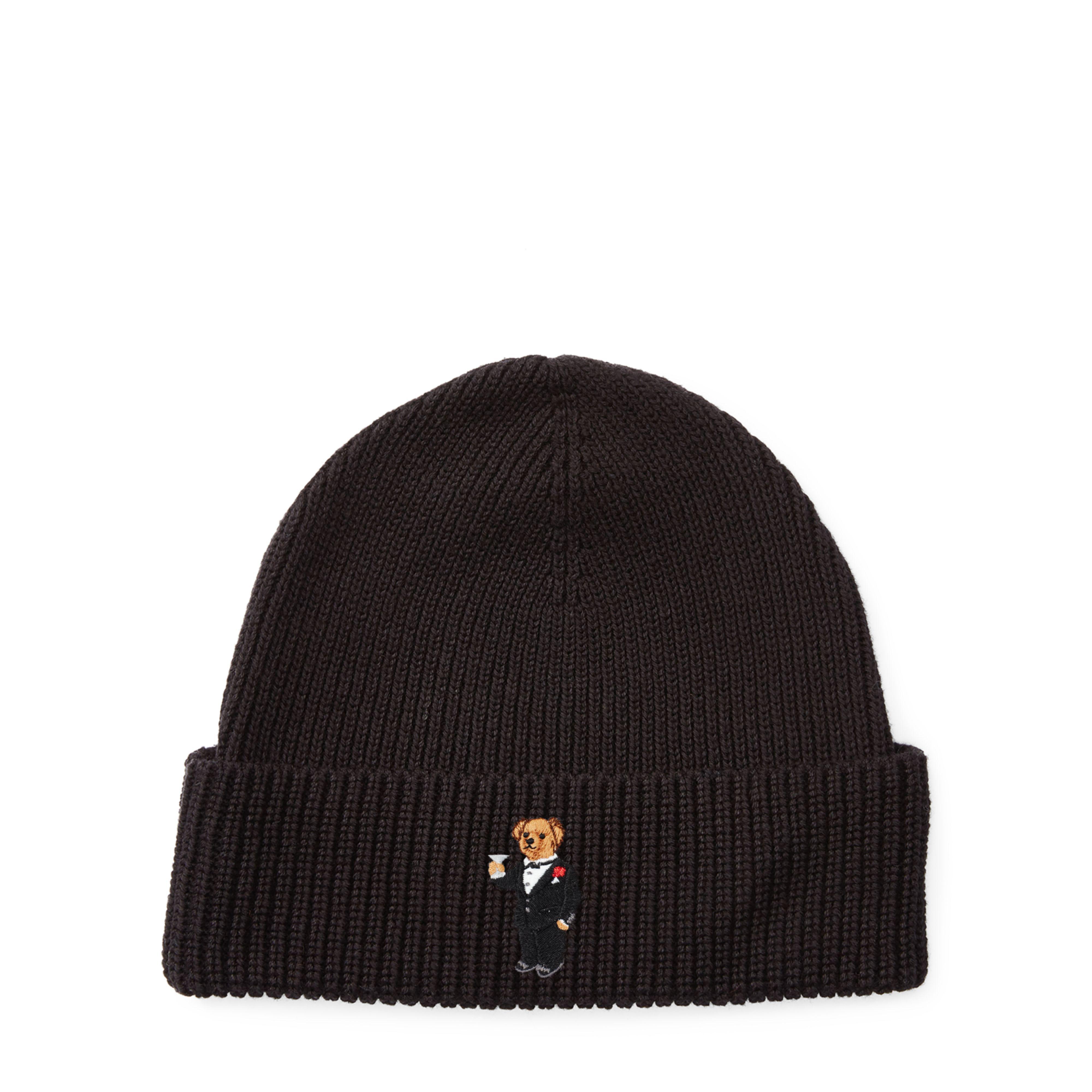 e275bdcbb886 Lyst - Polo Ralph Lauren Martini Polo Bear Ribbed Hat in Black for Men
