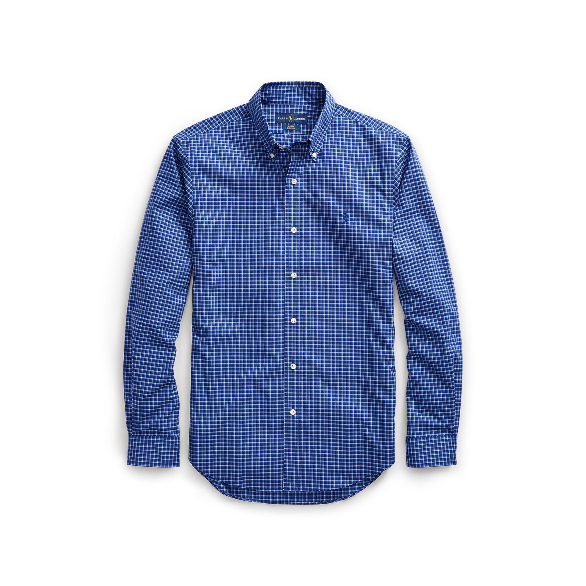 Polo Ralph Lauren Slim Fit No Iron Cotton Shirt In Blue For Men Lyst
