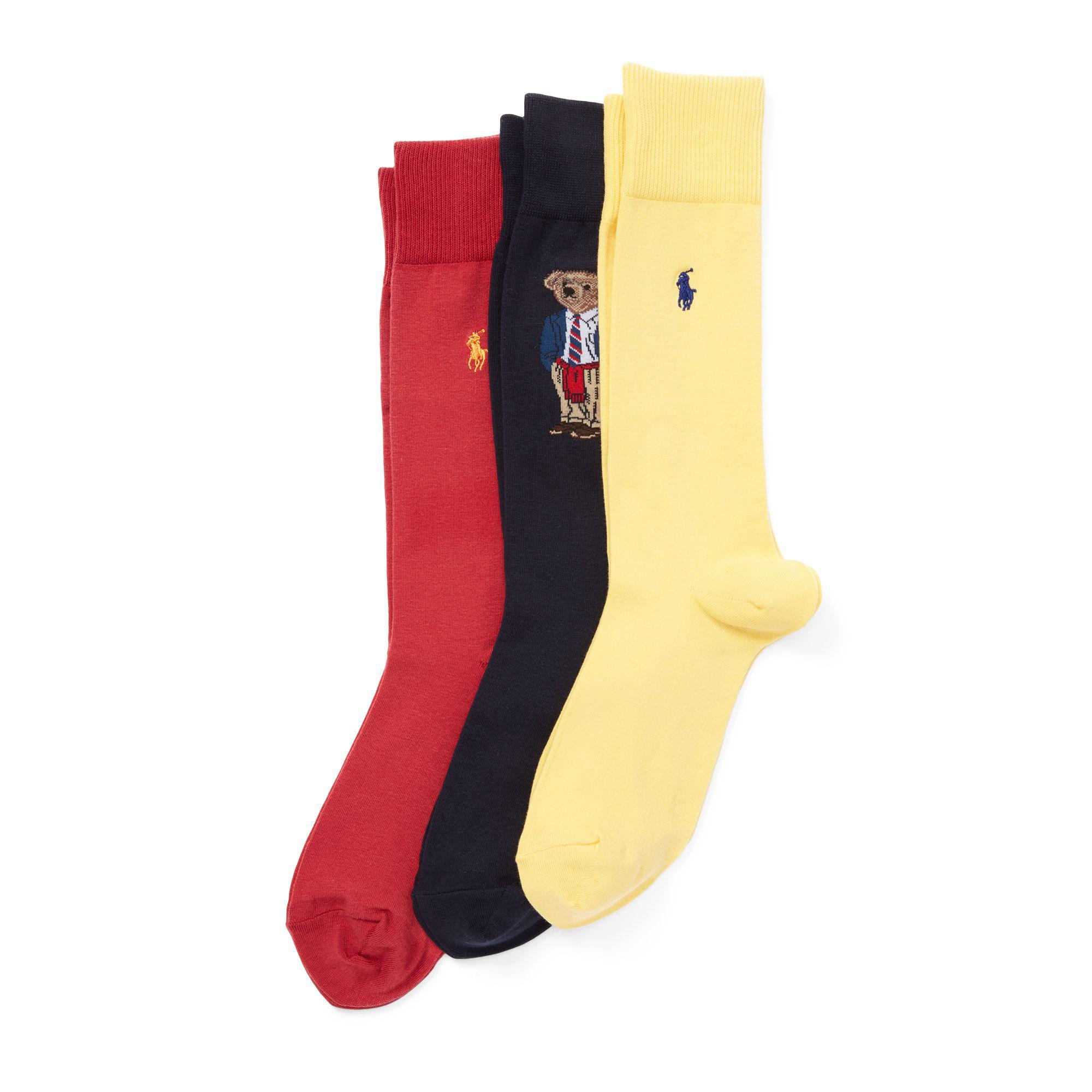Polo Ralph Lauren Polo Bear Trouser Sock 3-pack in Orange for Men - Lyst 5de26190e5b