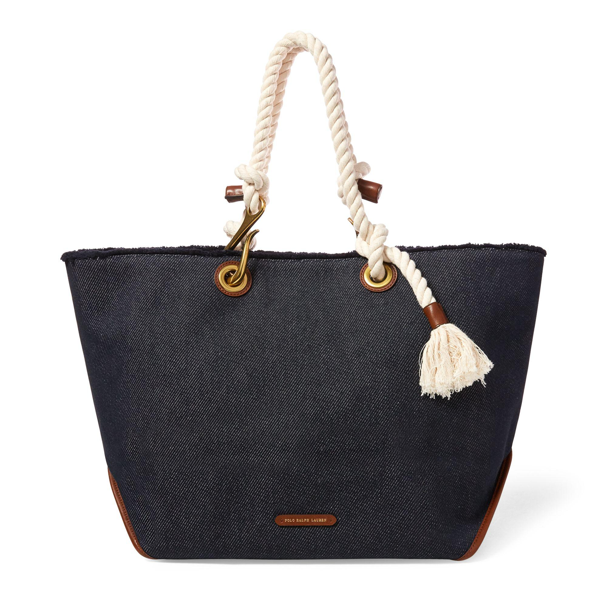 519c0200dbb Lyst - Polo Ralph Lauren Braided-rope Canvas Tote in Blue