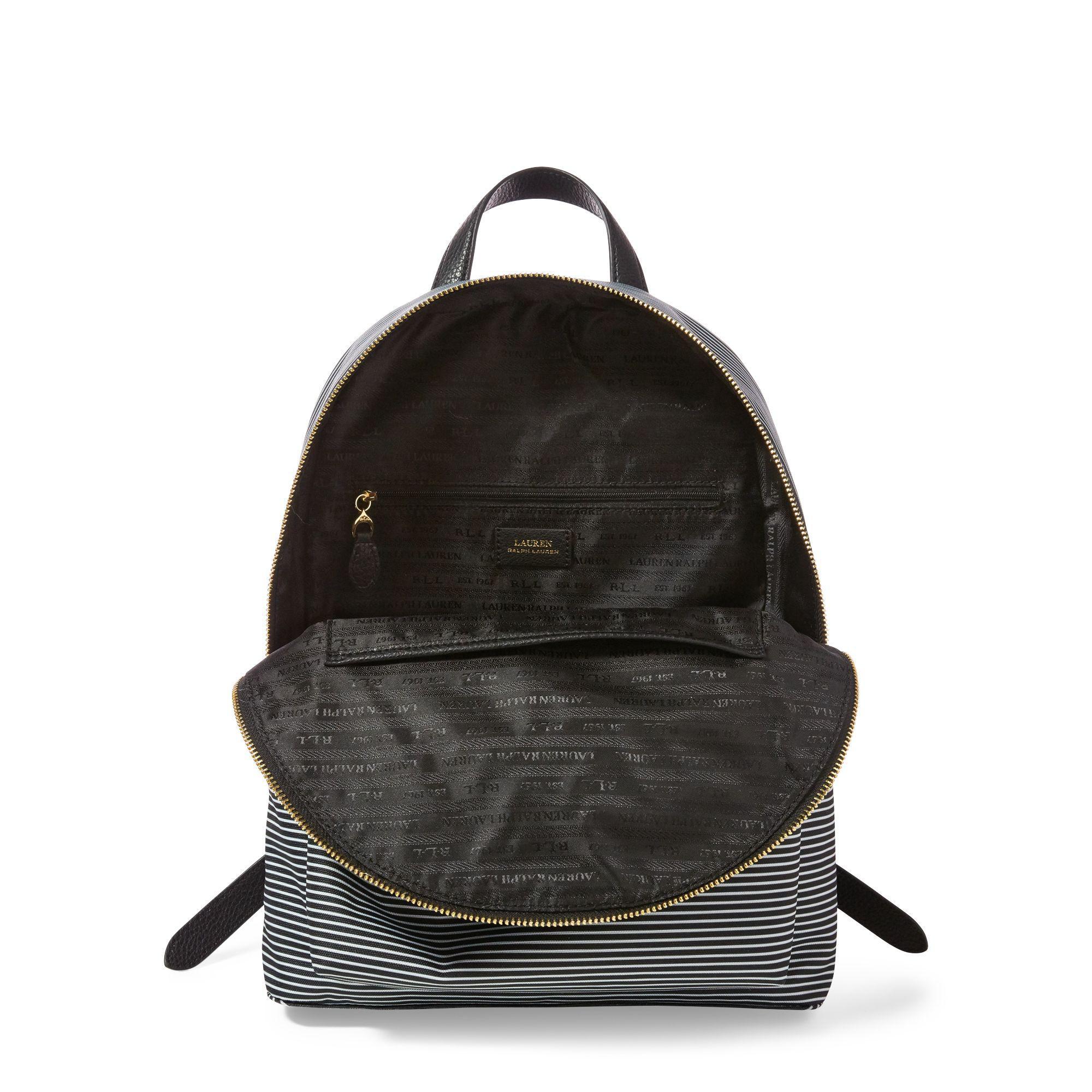 648967183 Ralph Lauren Striped Canvas Backpack in Black - Lyst