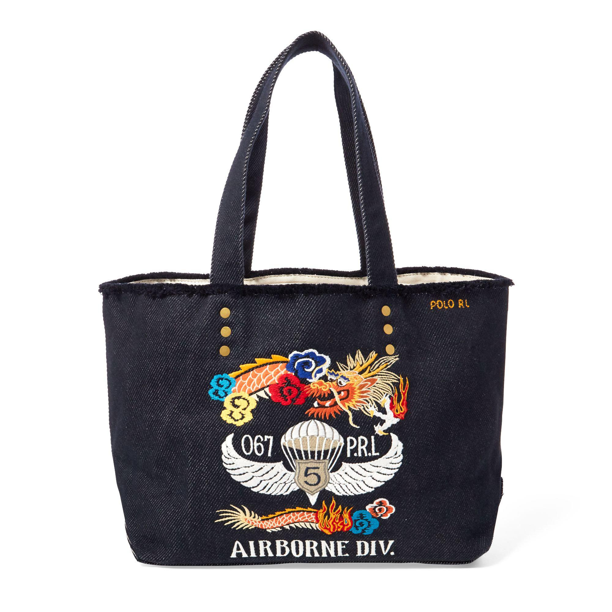 2ab4c30ddc Lyst - Polo Ralph Lauren Dragon-embroidered Canvas Tote in Blue