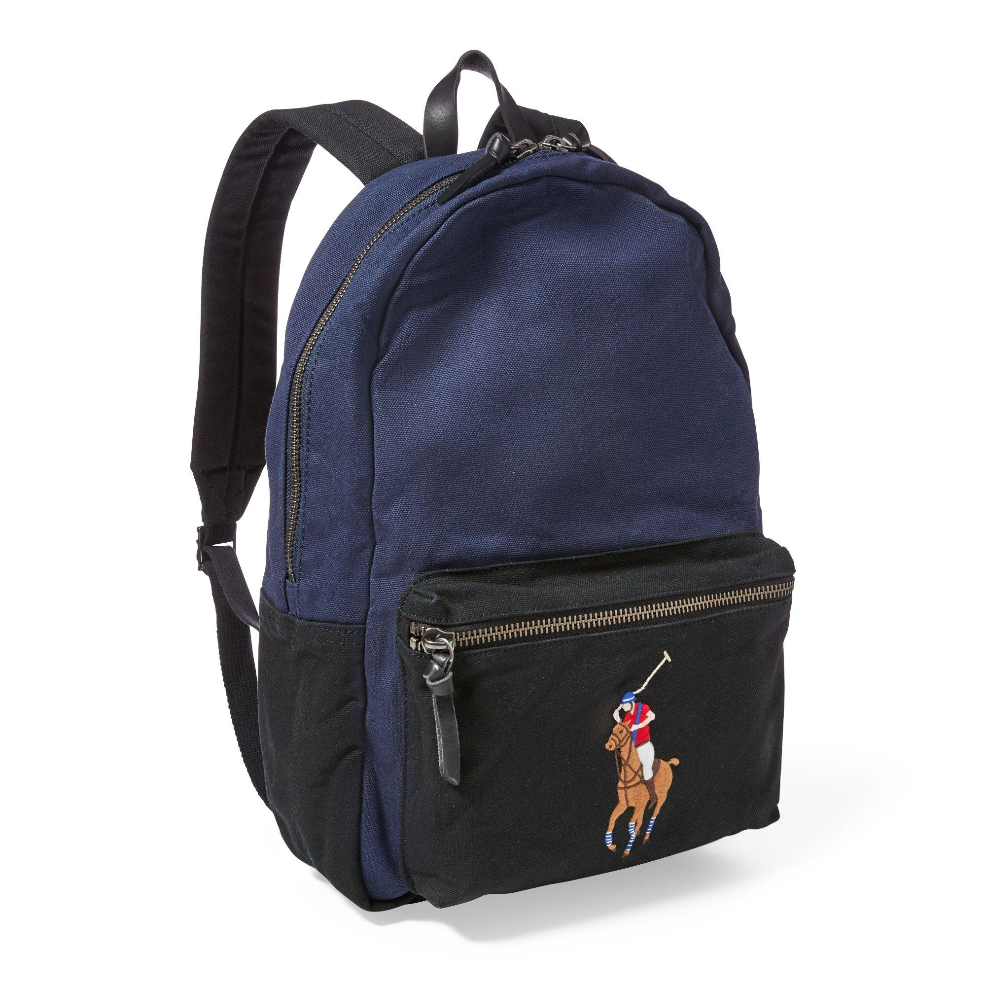 Lyst - Polo Ralph Lauren Canvas Big Pony Backpack in Black for Men 668775d70a35b