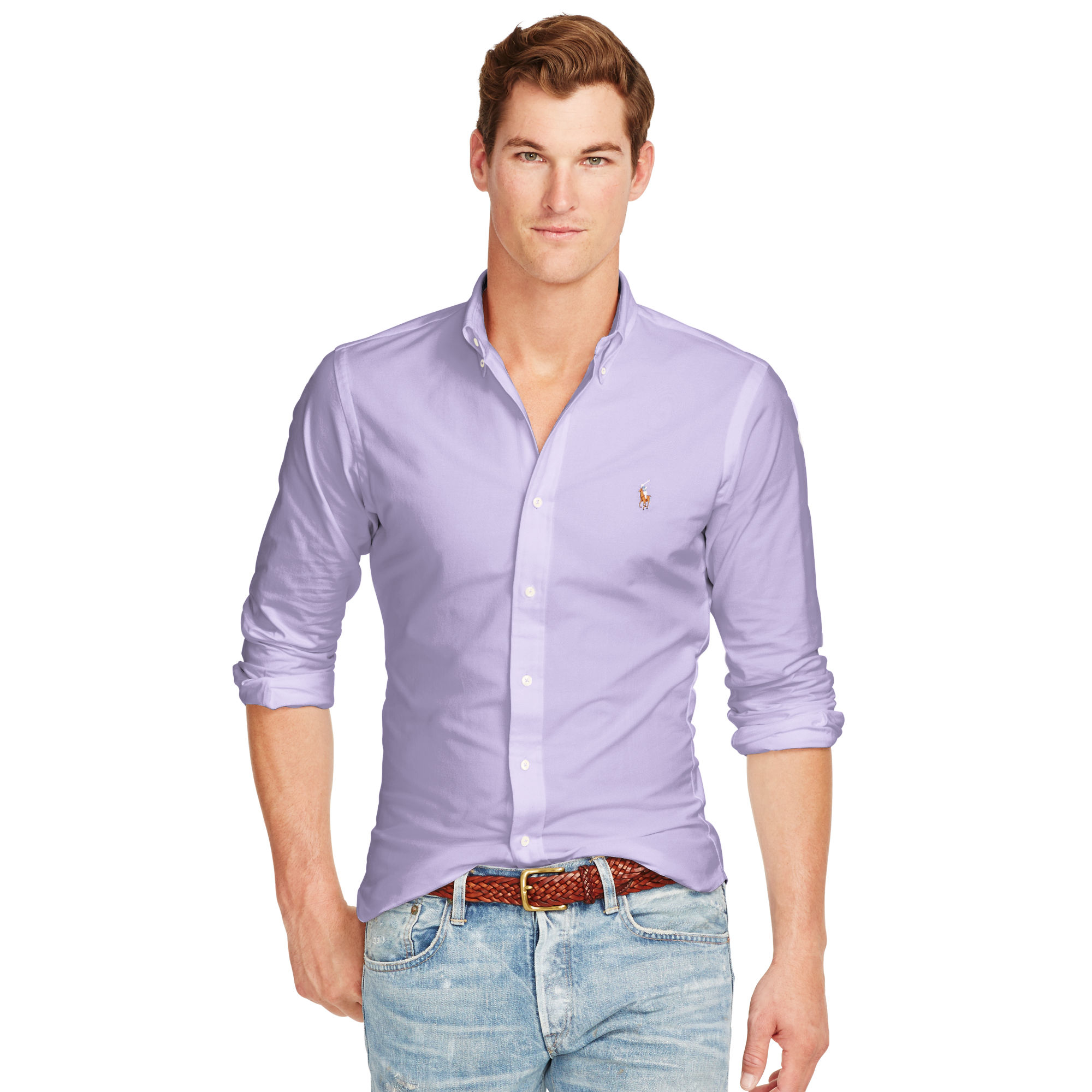 Polo ralph lauren slim fit stretch oxford shirt in purple for Slim fit collared shirts