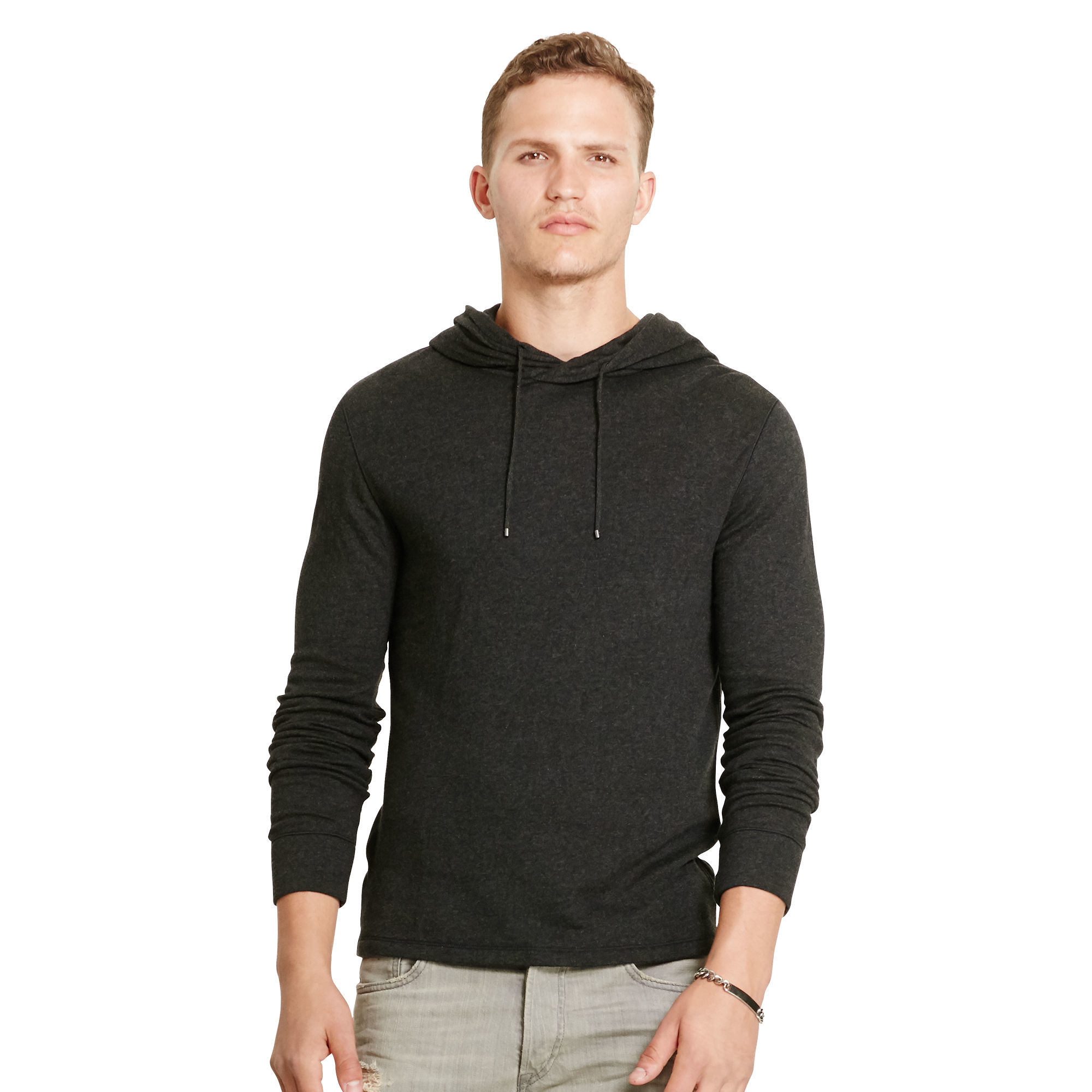 polo ralph lauren double knit tech hoodie in black for men lyst. Black Bedroom Furniture Sets. Home Design Ideas