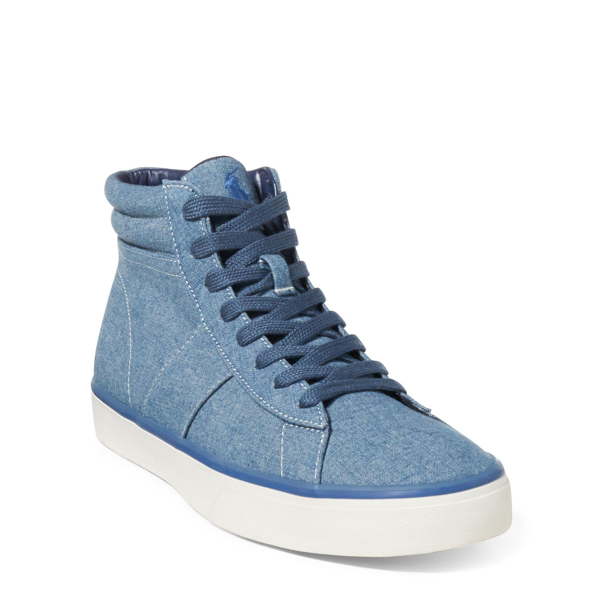 Ralph Lauren Shaw Chambray High-Top Sneaker Grey 9.5 7GJiz8OZ