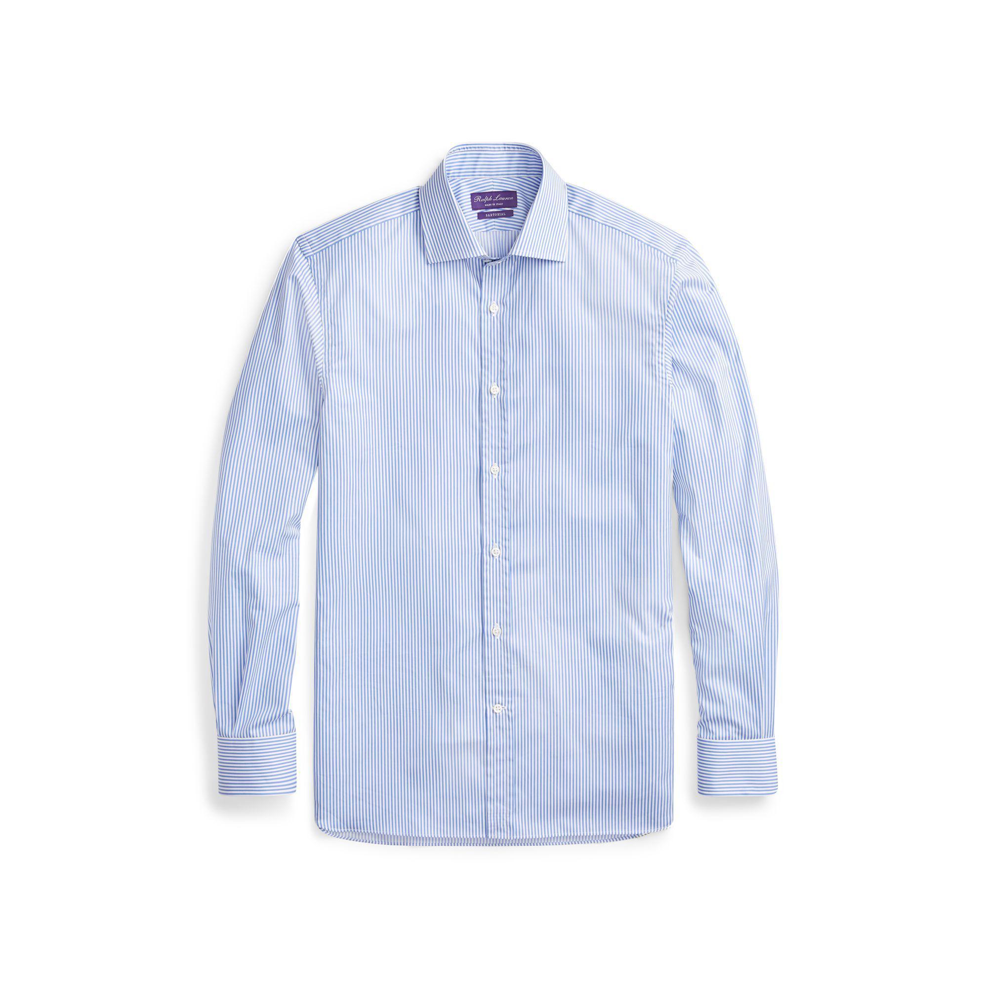 64d05096 Lyst - Ralph Lauren Purple Label Bengal-striped Twill Shirt in Blue ...