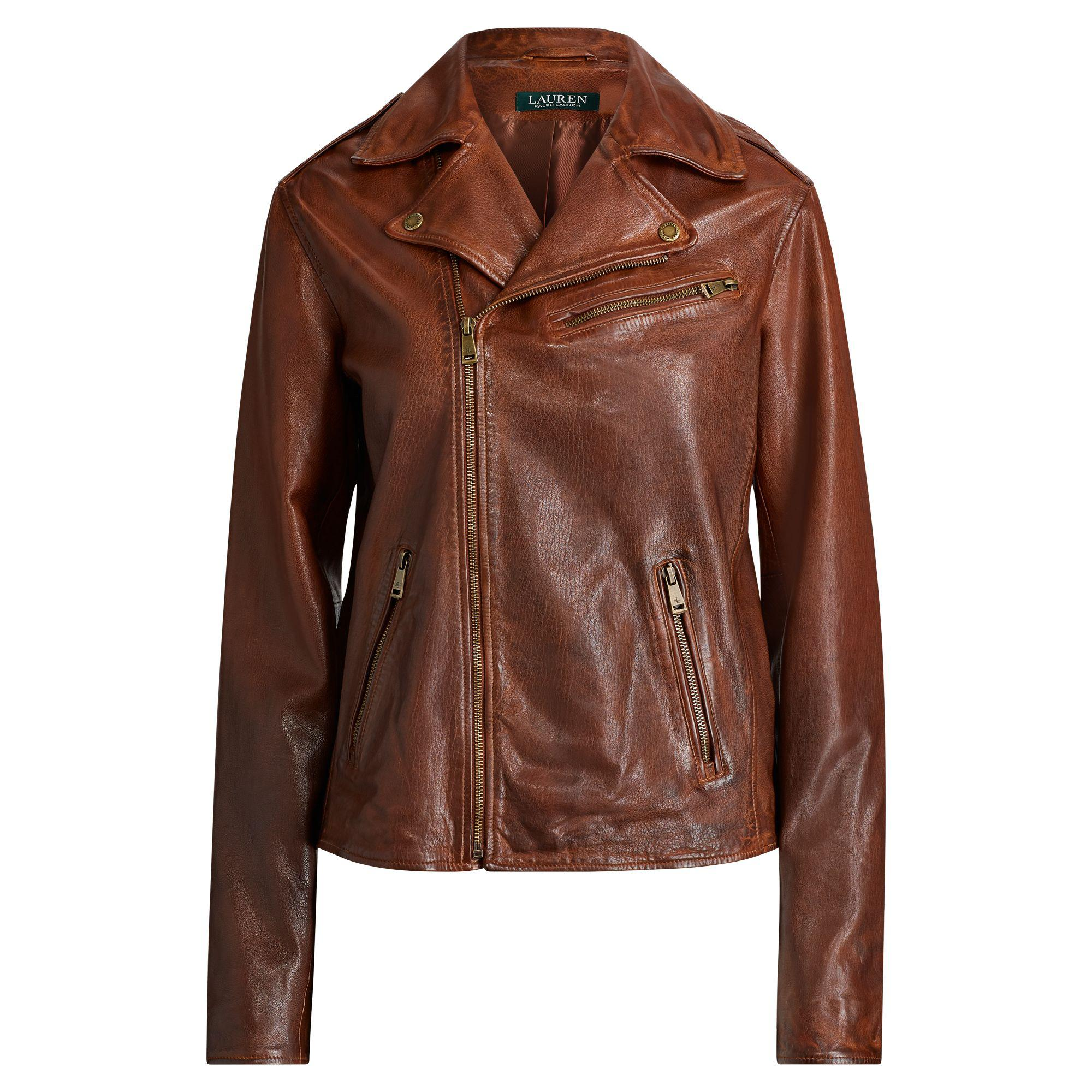 Leather Jacket Tumbled Brown Lauren Women's Ralph gnSqfRg