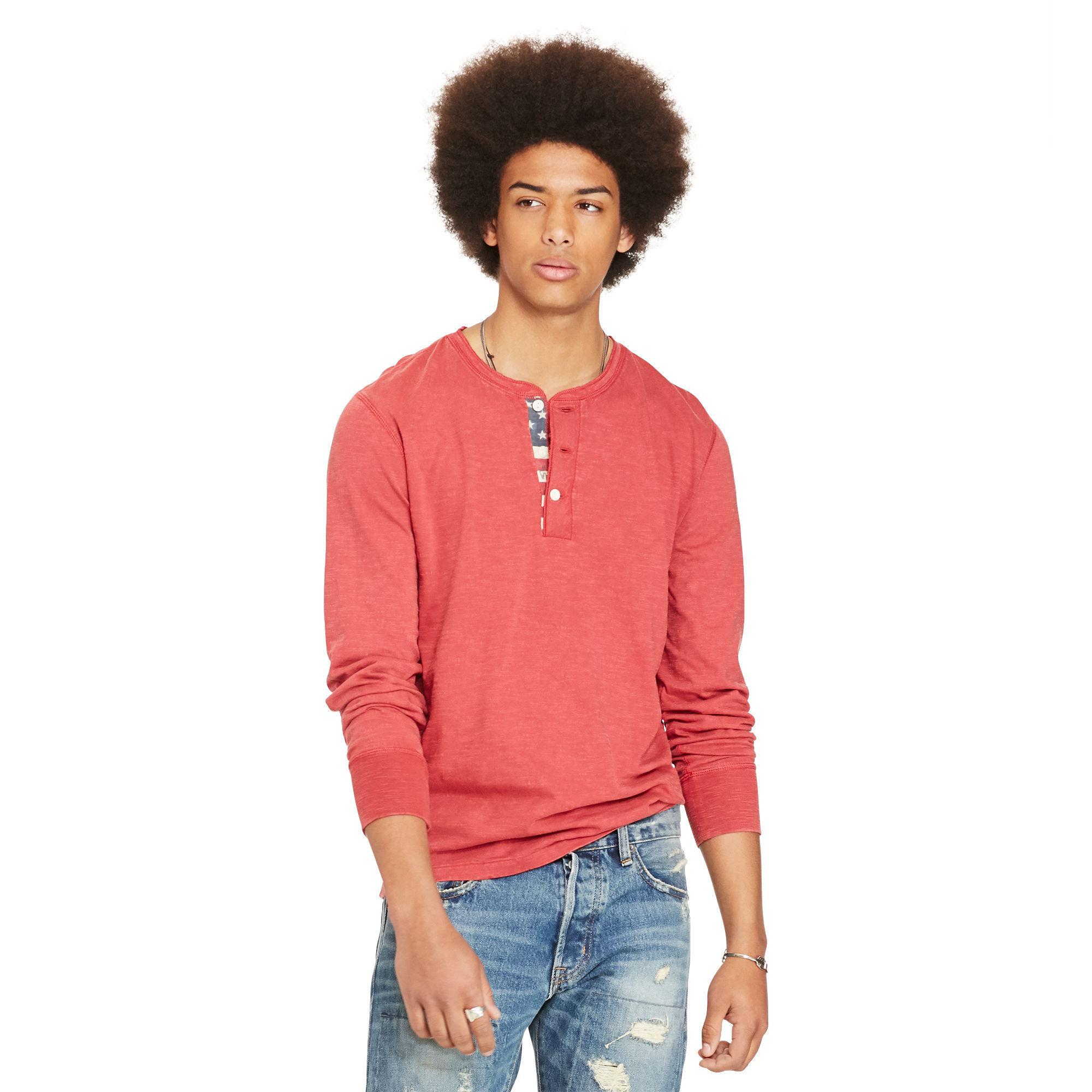 f088e16172 Denim   Supply Ralph Lauren Flag-placket Henley in Red for Men - Lyst
