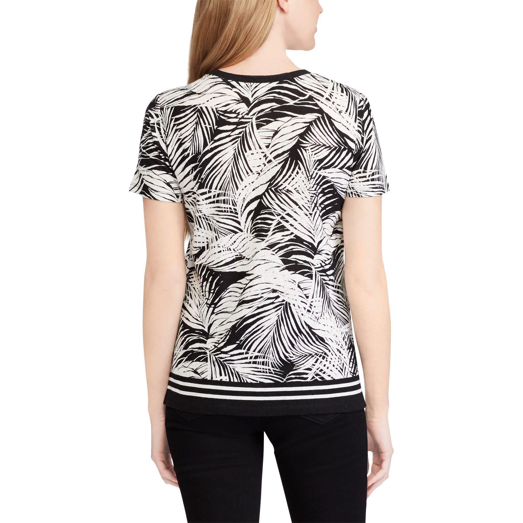 7cdd65705eb6 Ralph Lauren Tropical-print Linen-blend Top in Black - Lyst