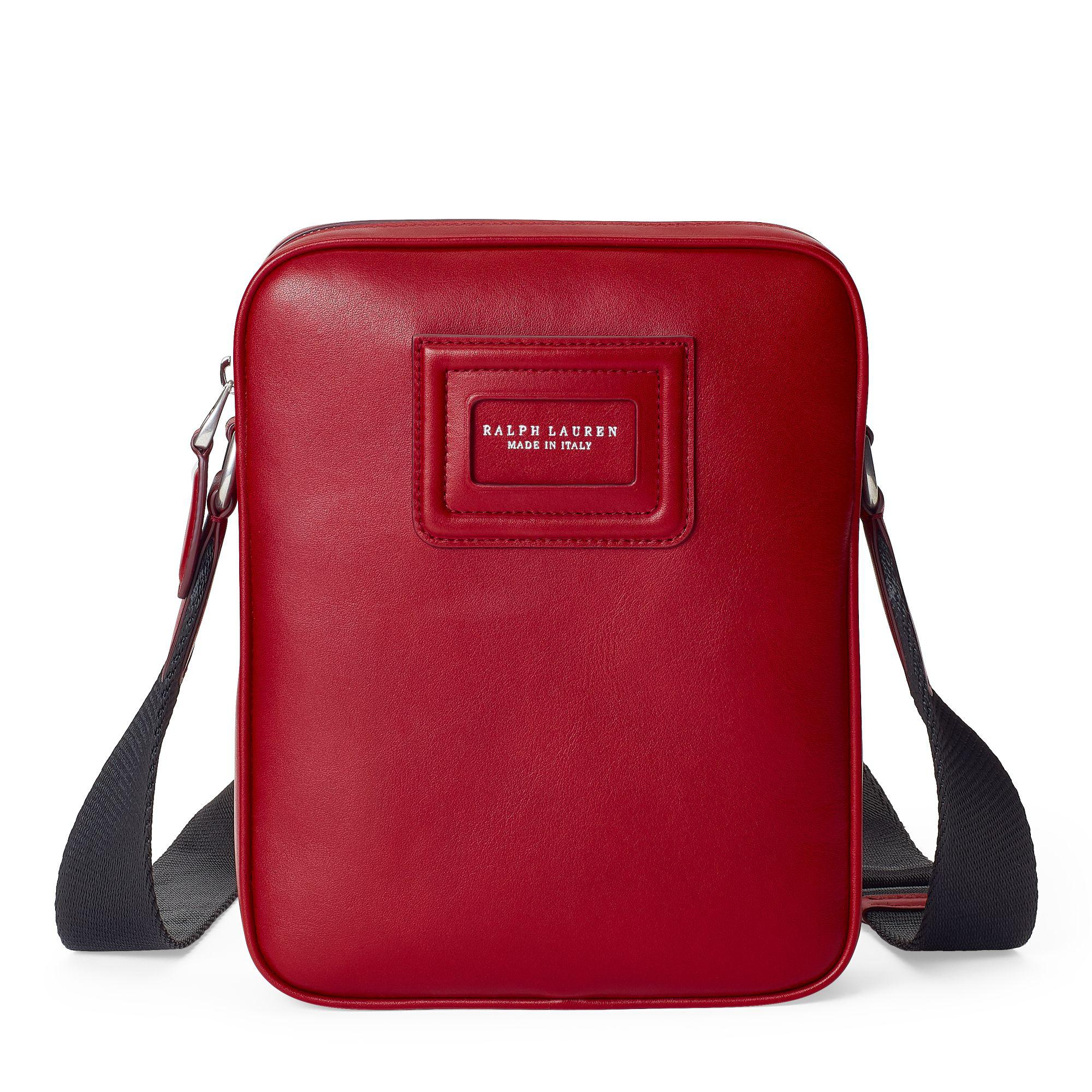 230c10bf59c1 Ralph Lauren Id Badge Leather Crossbody Bag in Red for Men - Lyst
