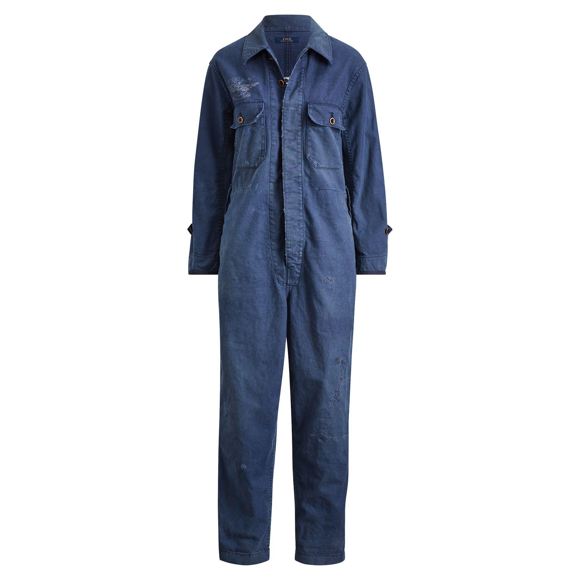 b77382e39ef451 Lyst - Polo Ralph Lauren Linen-blend Jumpsuit in Blue