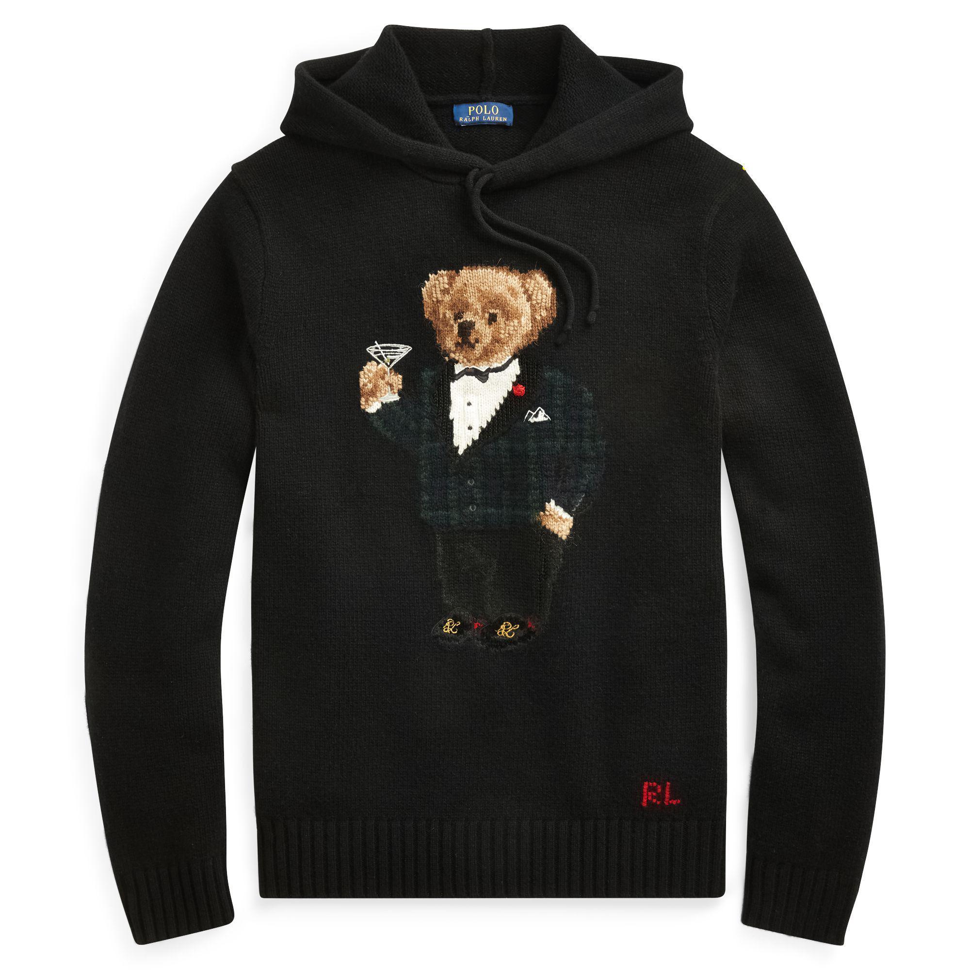 5e4e4bc296943 Polo Ralph Lauren - Black Bear-intarsia Wool Hoodie for Men - Lyst. View  fullscreen
