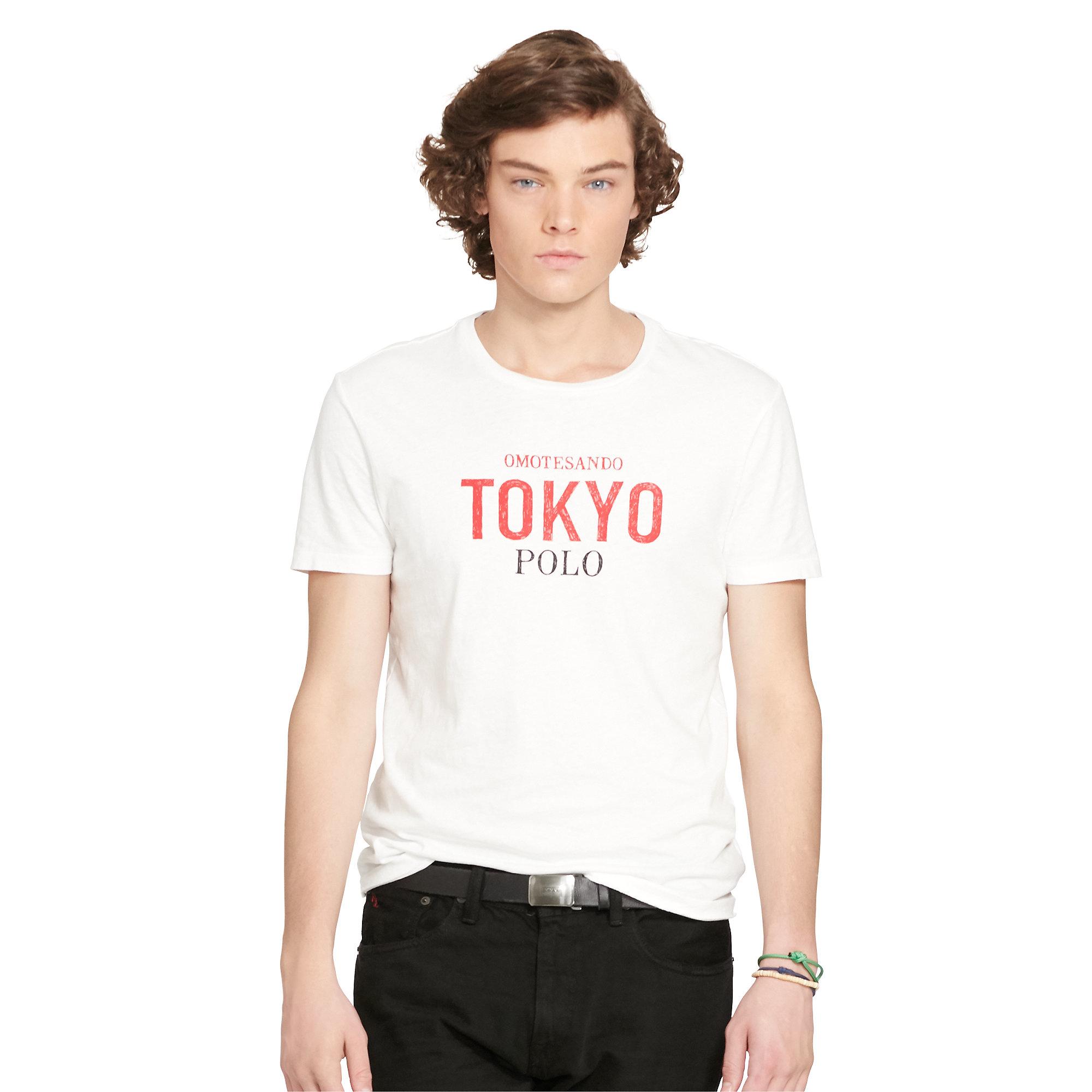 Polo ralph lauren custom fit graphic t shirt in white for for Polo custom fit t shirts
