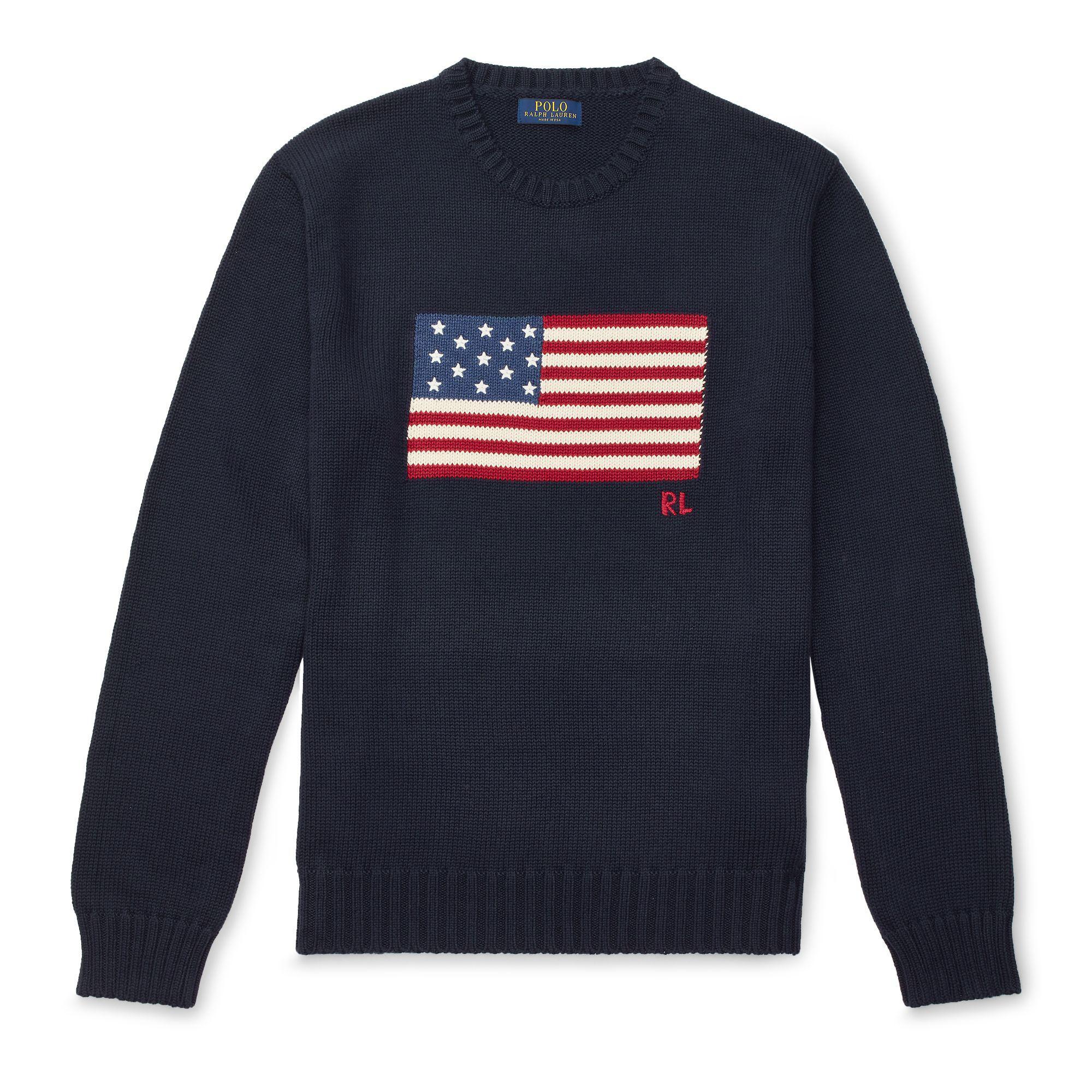 8196cd458e7d Polo Ralph Lauren Men s American Flag Cotton Sweater in Blue for Men ...