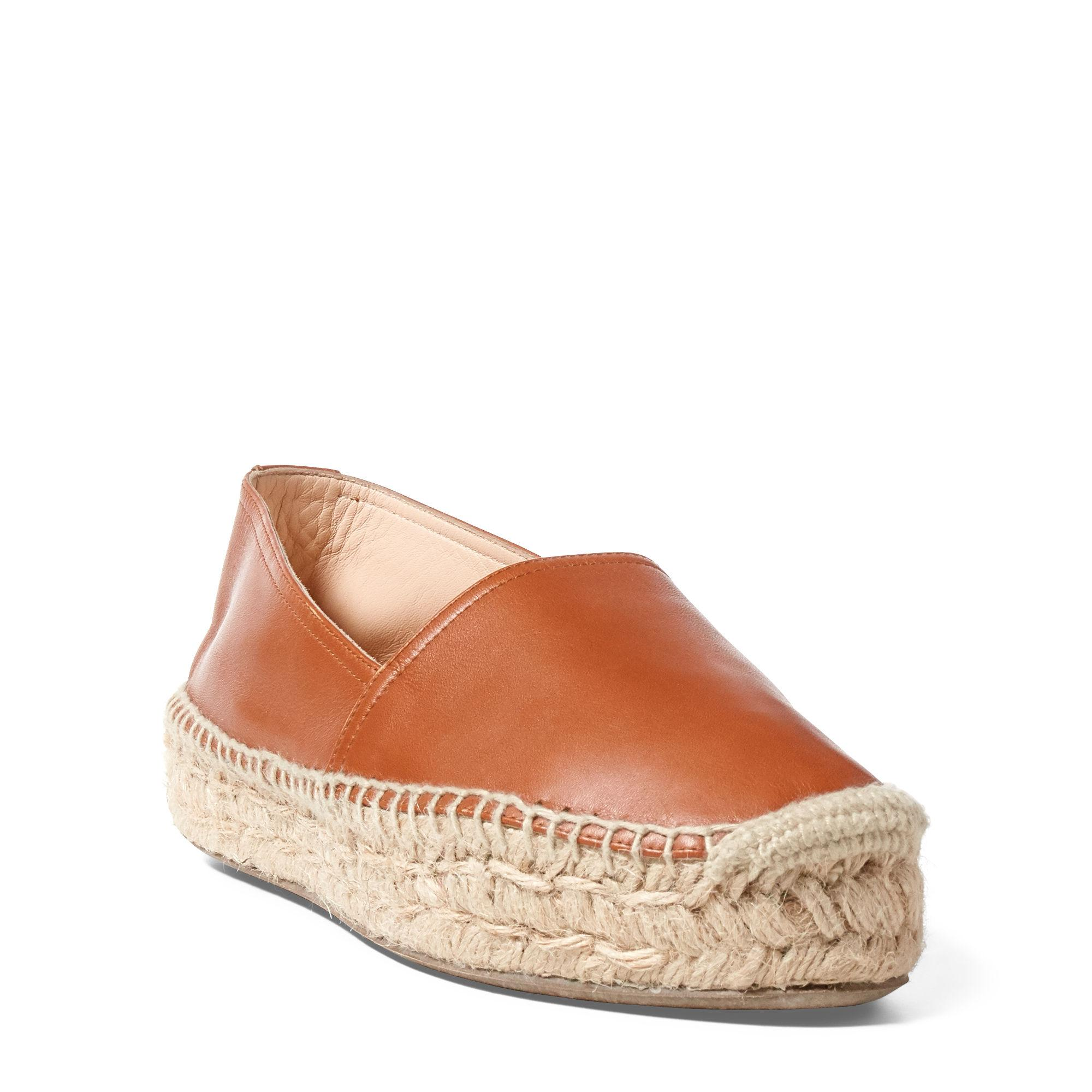 lyst polo ralph lauren joanne calfskin espadrille in brown. Black Bedroom Furniture Sets. Home Design Ideas