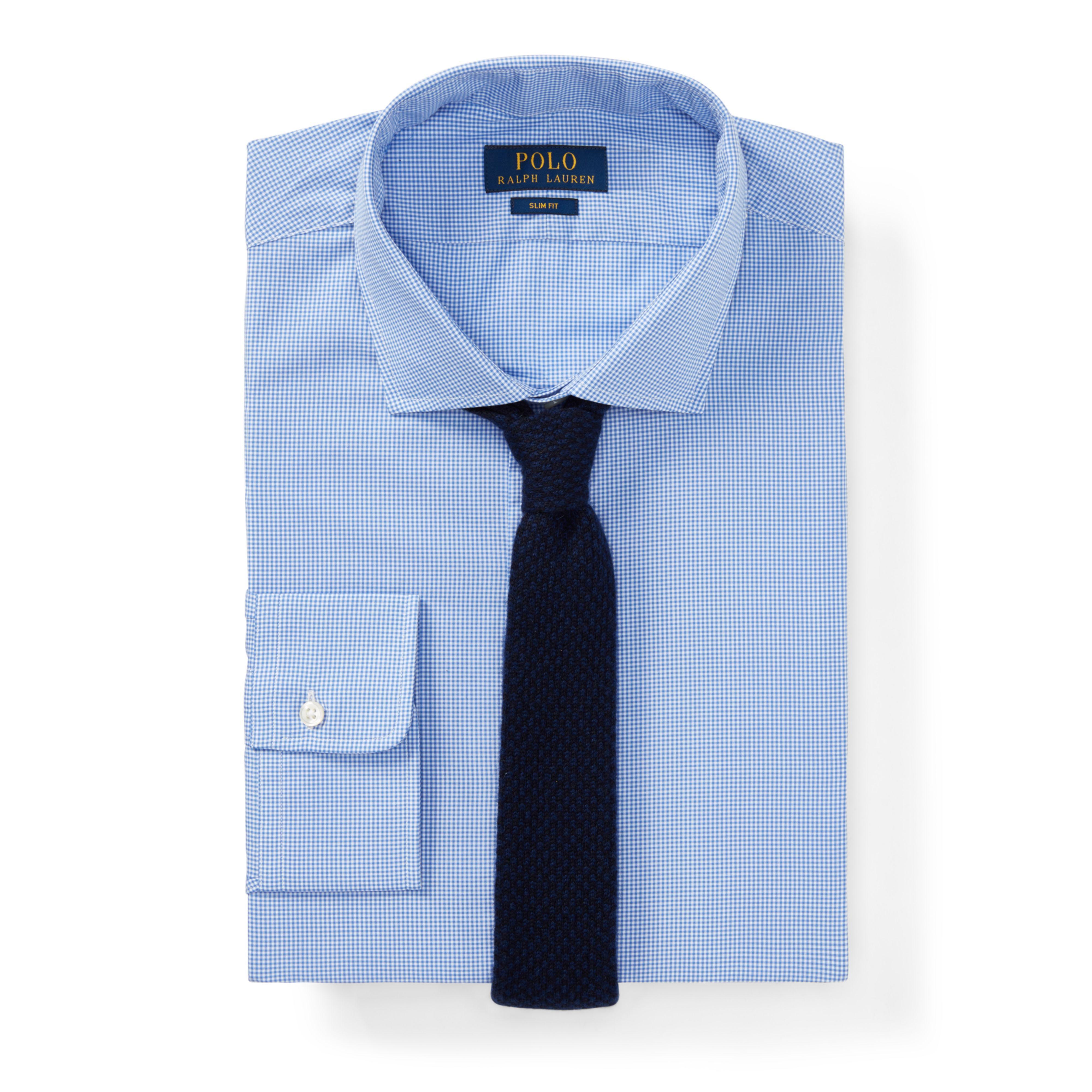 Polo Ralph Lauren. Men's Blue Slim Fit Cotton Dress Shirt