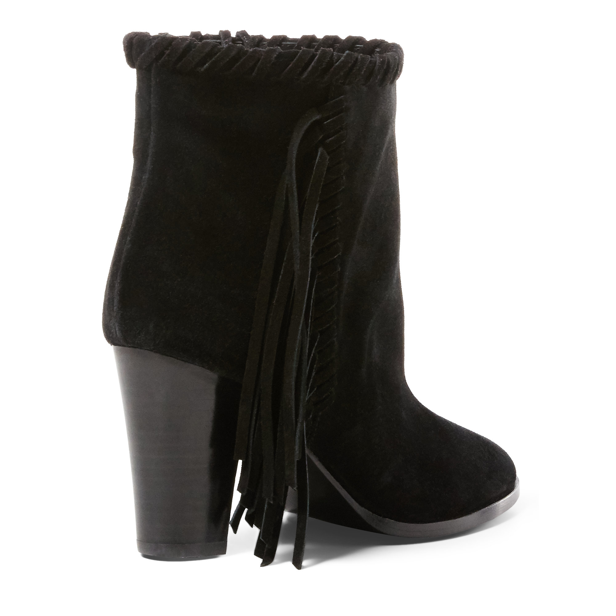 polo ralph sade fringed suede boot in black lyst