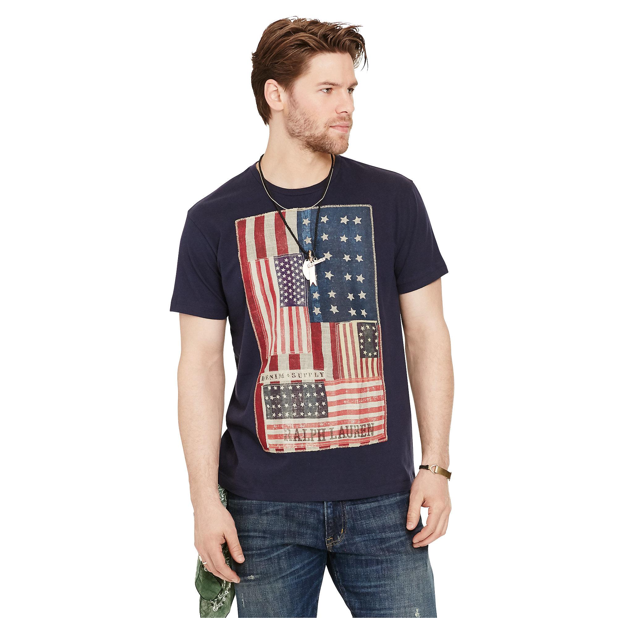 778b0cc0d2 Lyst - Denim   Supply Ralph Lauren Flag-patch Cotton Jersey Tee in ...