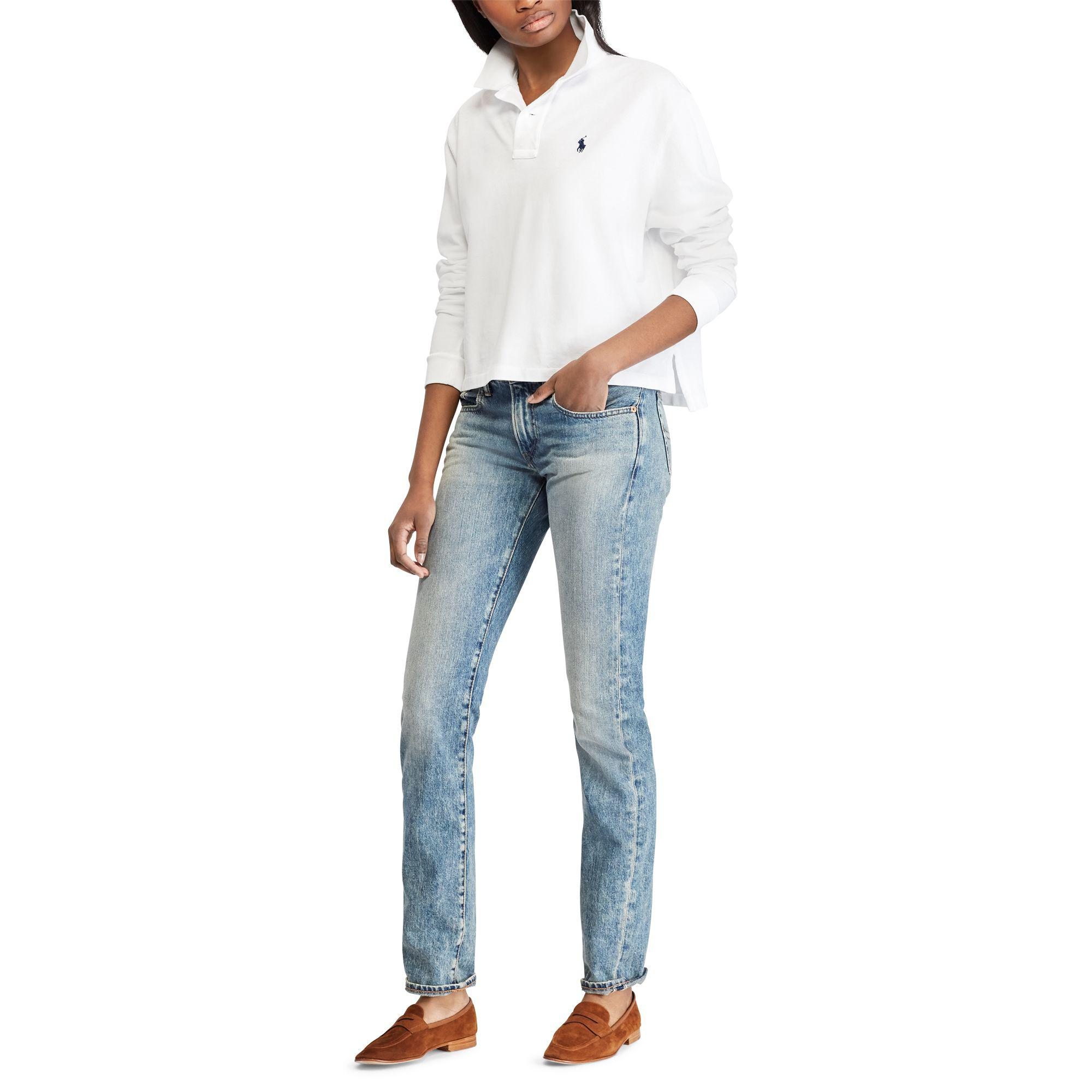 9da9d478ab57c9 Polo Ralph Lauren - White Cropped Mesh Polo Shirt - Lyst. View fullscreen
