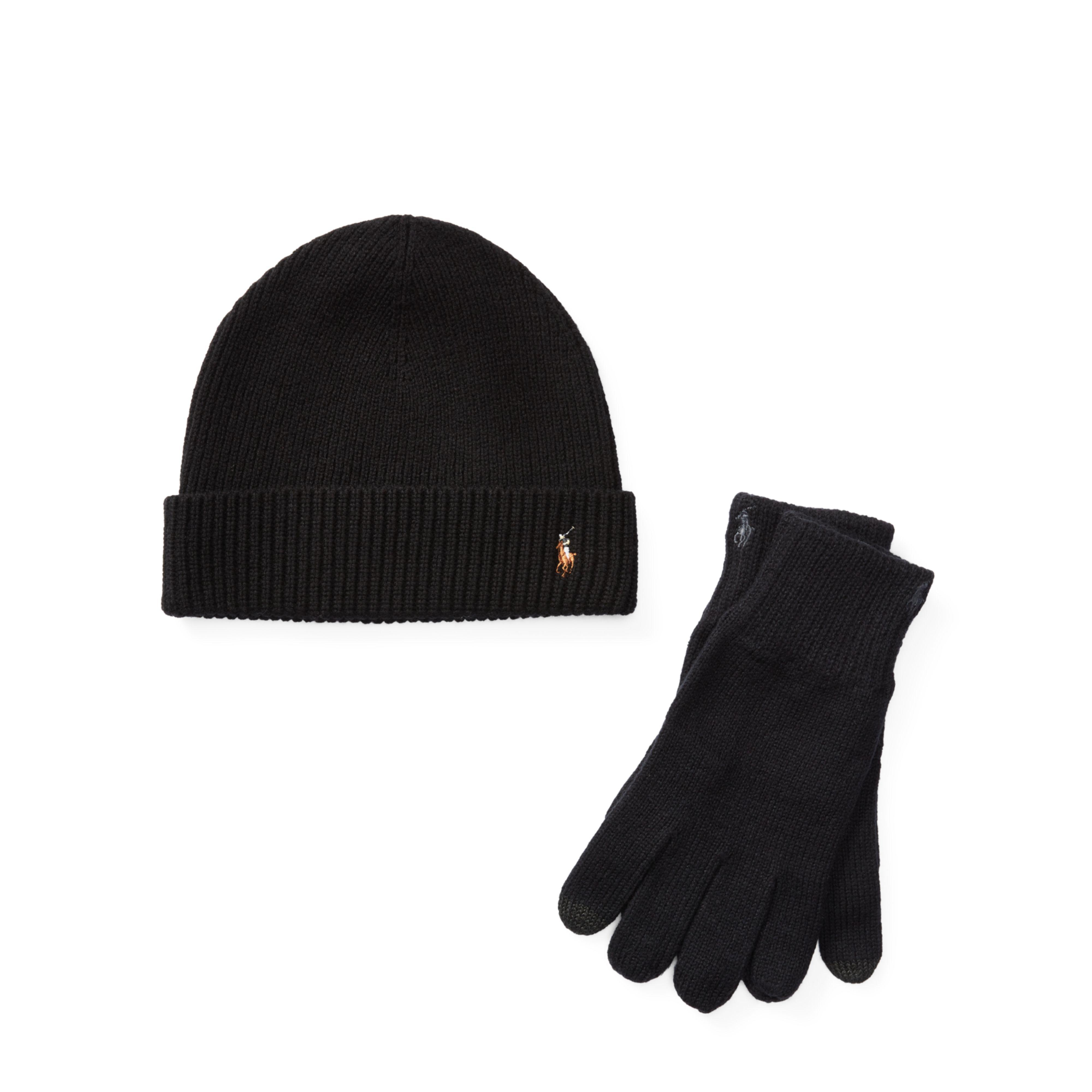 4300c01d81259 Polo Ralph Lauren Merino Hat   Gloves Gift Set in Black for Men - Lyst