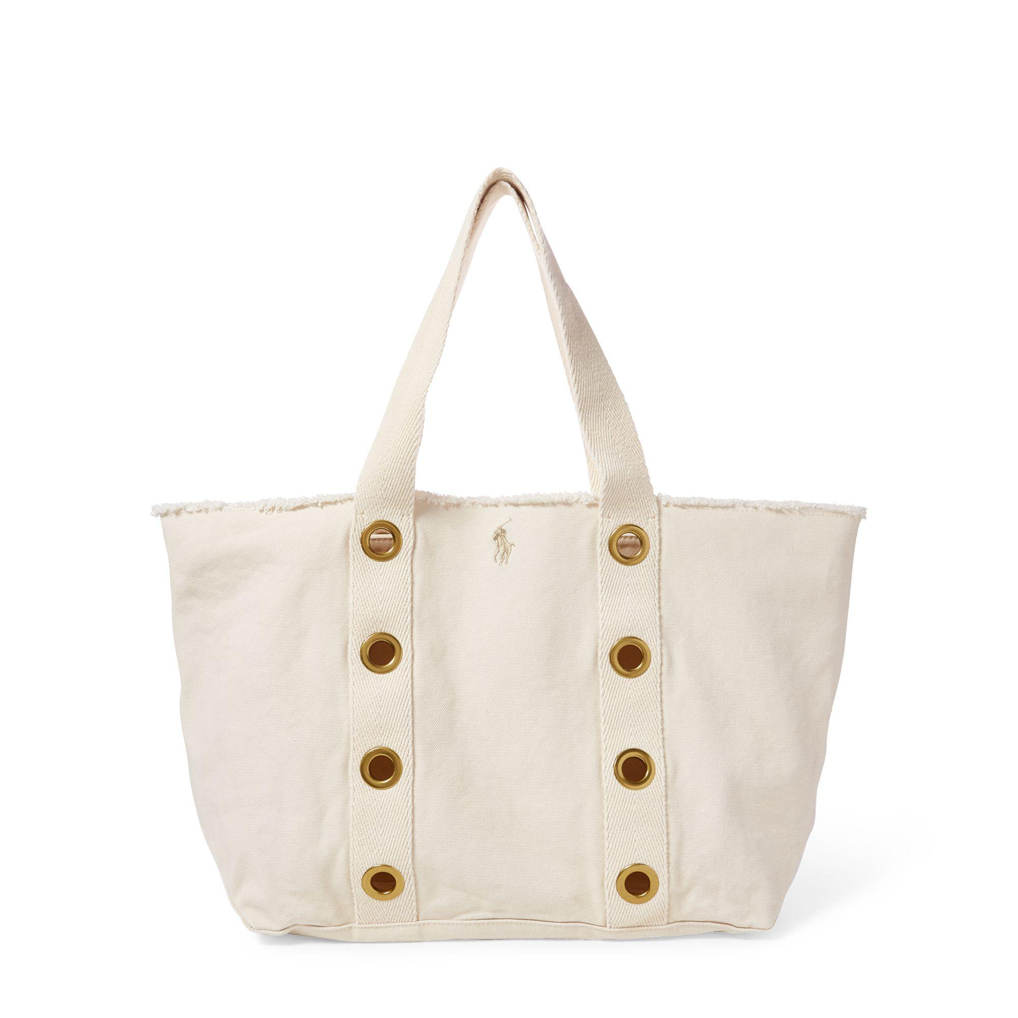 Lyst - Polo Ralph Lauren Grommet-trim Large Canvas Tote in Natural 4b61e579c8f78