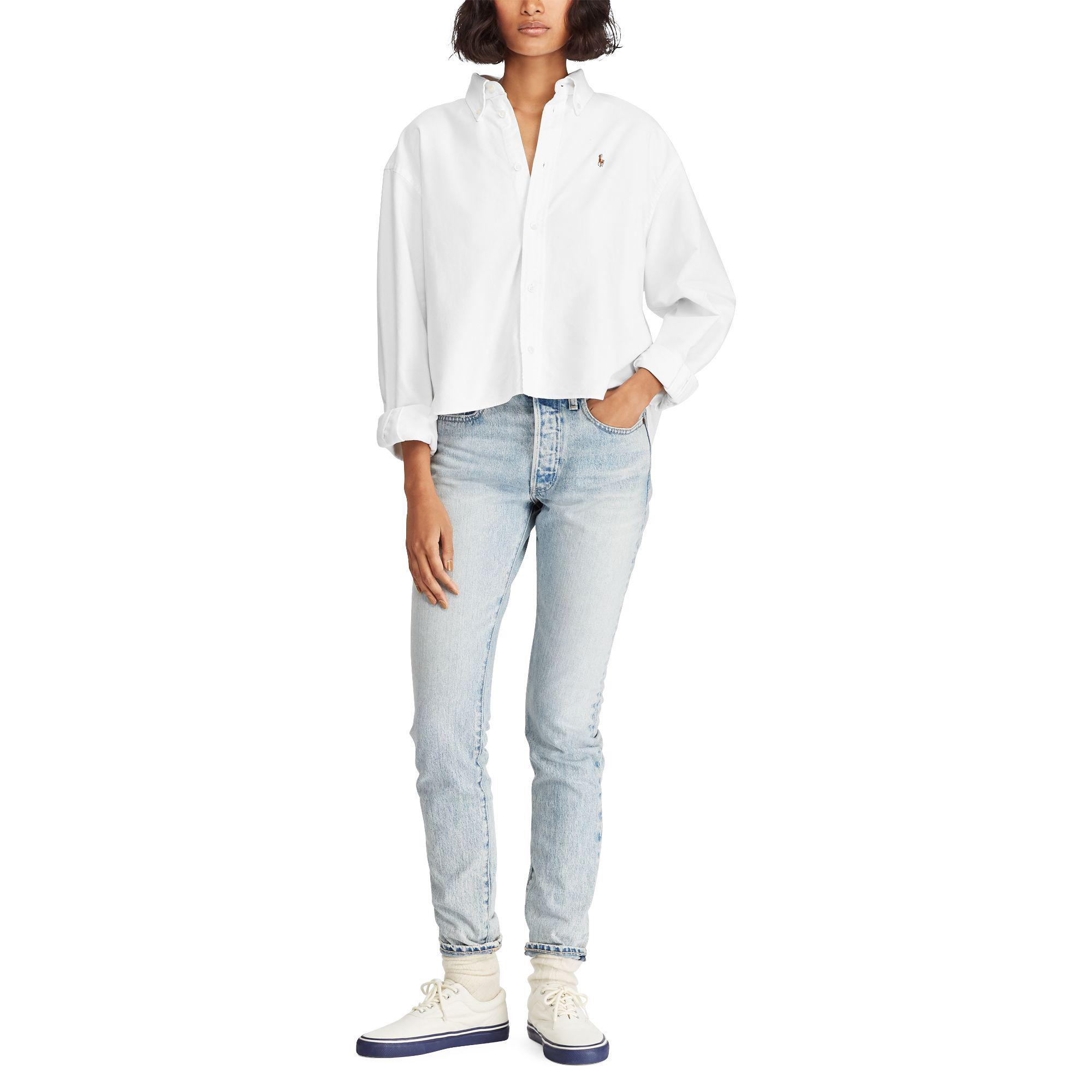 87881d83c1797 Lyst - Polo Ralph Lauren Cropped Oxford Shirt in White