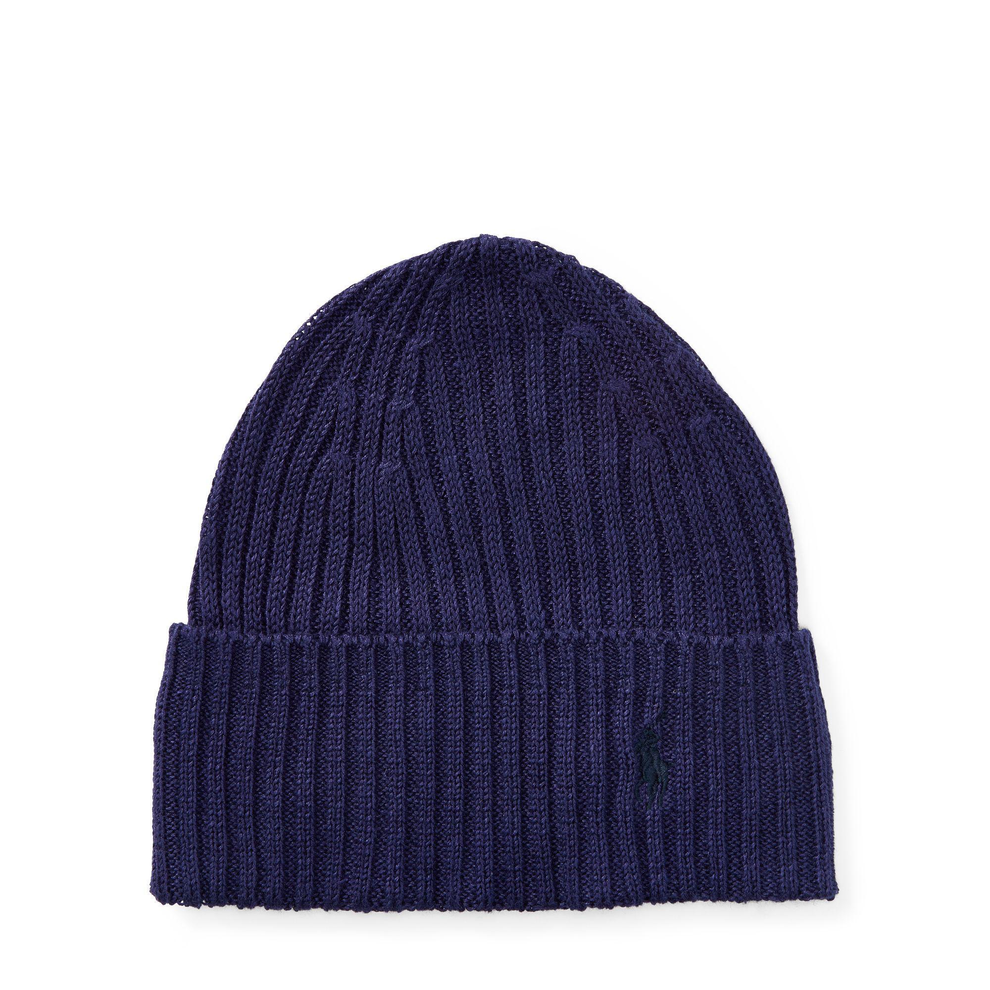 f9e24cbe41b Lyst - Polo Ralph Lauren Rib-knit Linen Hat in Blue for Men