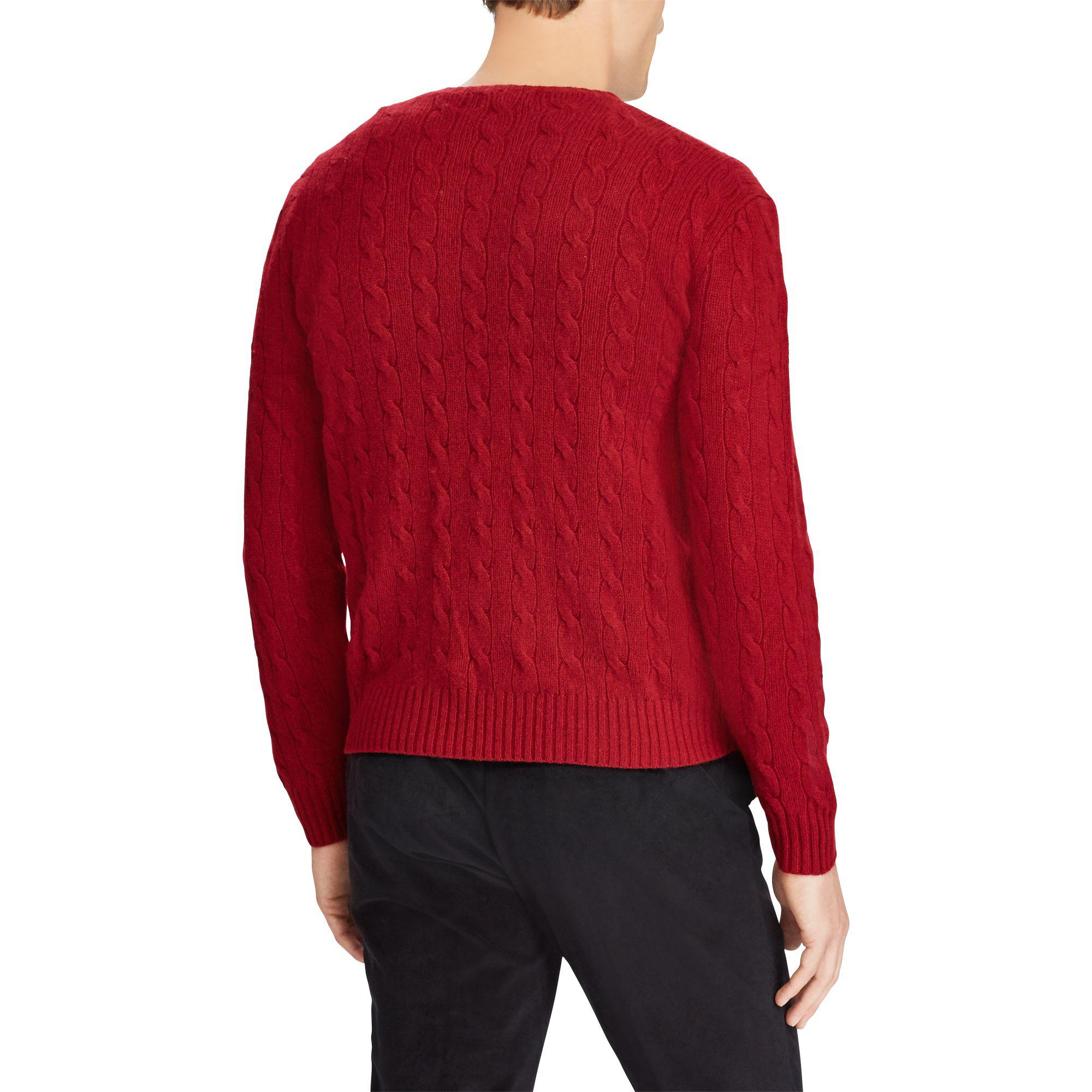 Men Red In Ralph For Polo Lyst Cashmere Cable Lauren Knit Sweater