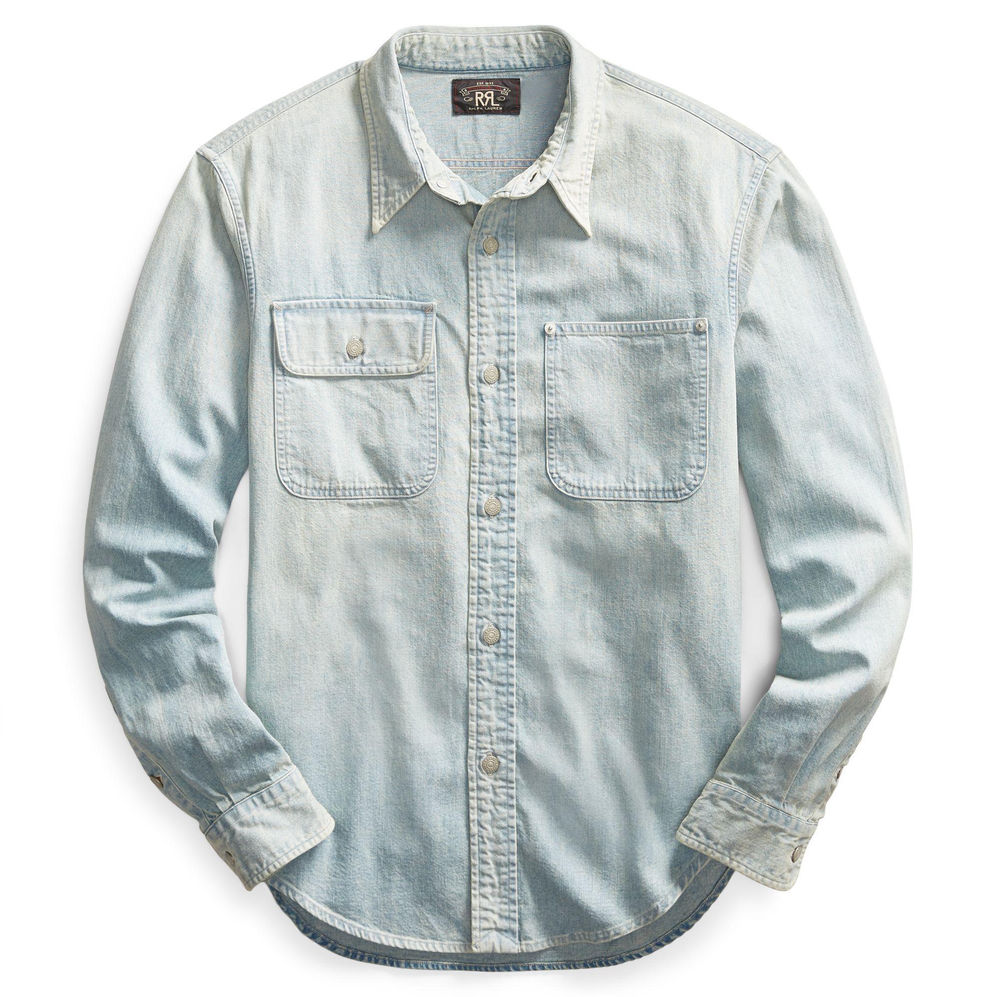 4e986e61 RRL - Blue 25th Anniversary Denim Shirt for Men - Lyst. View fullscreen