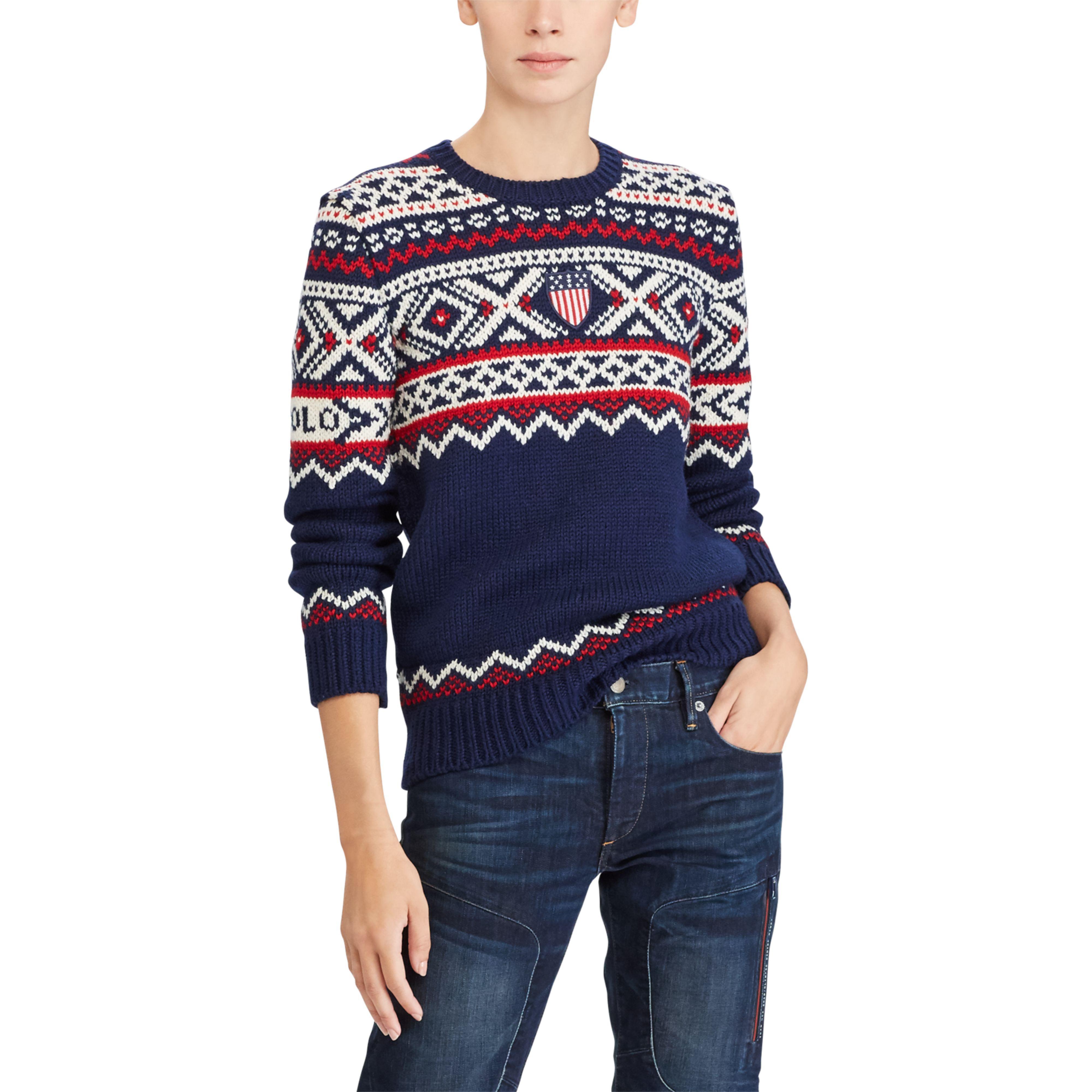 f506fa5dfe Lyst - Polo Ralph Lauren Team Usa Ceremony Sweater in Blue