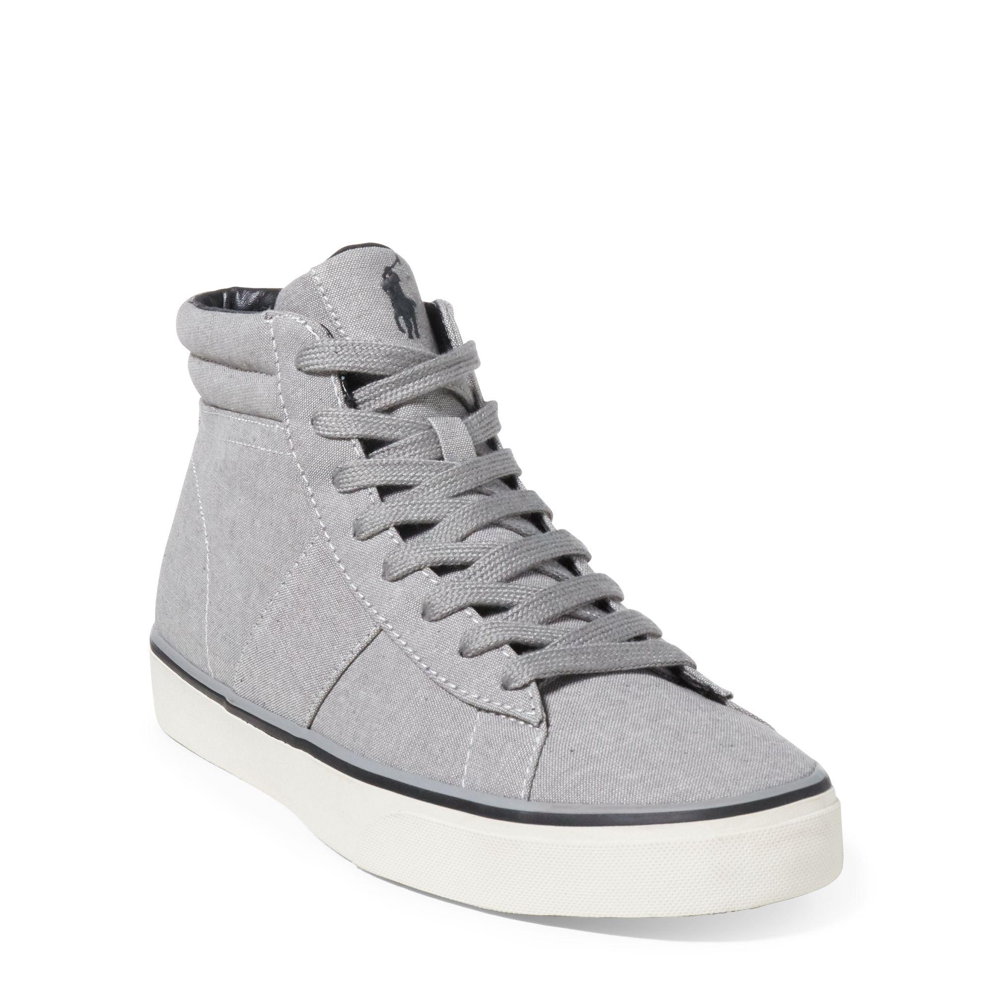 Ralph Lauren Shaw Chambray High-Top Sneaker Indigo 9
