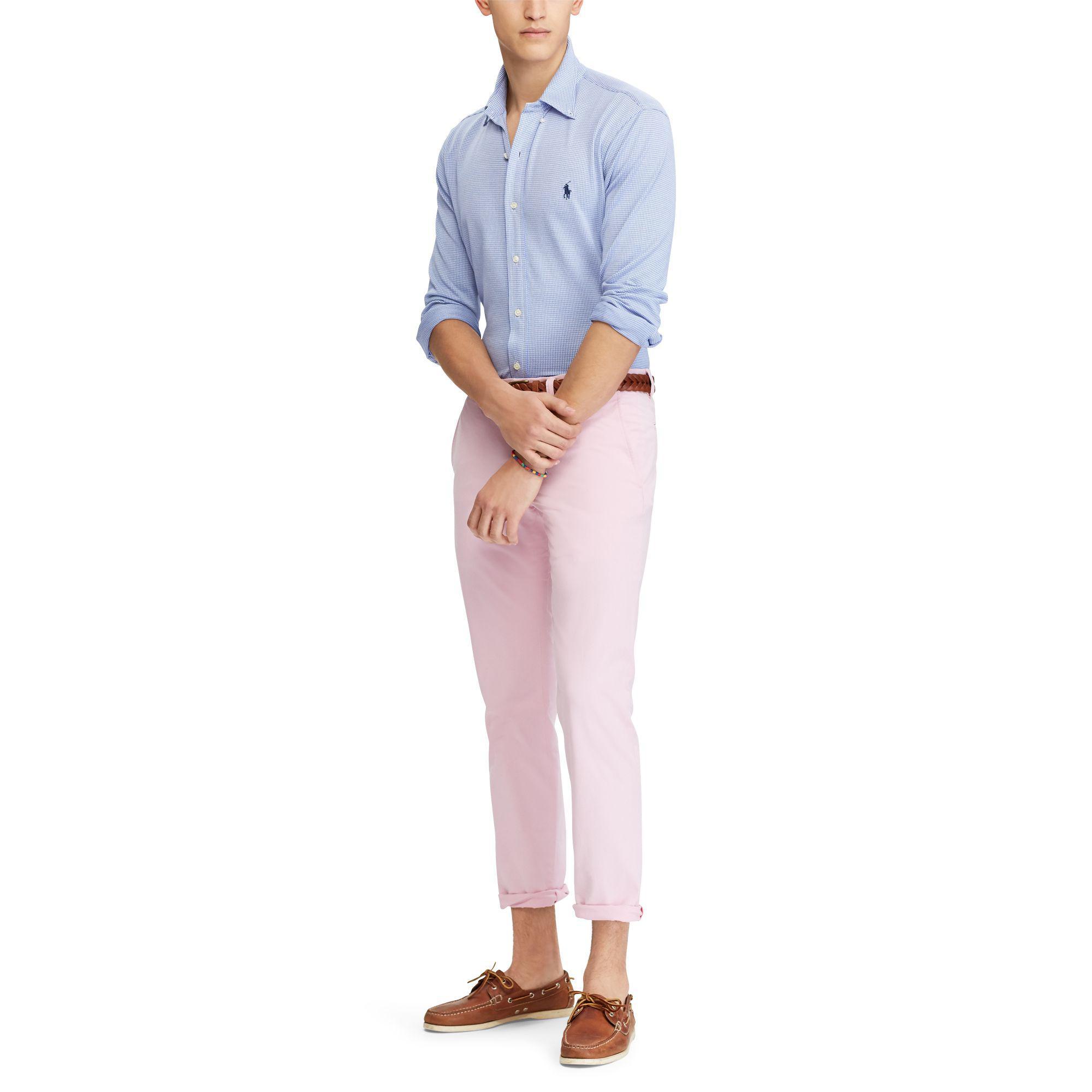 Polo Ralph Lauren Knit Cotton Dress Shirt In Blue For Men Lyst