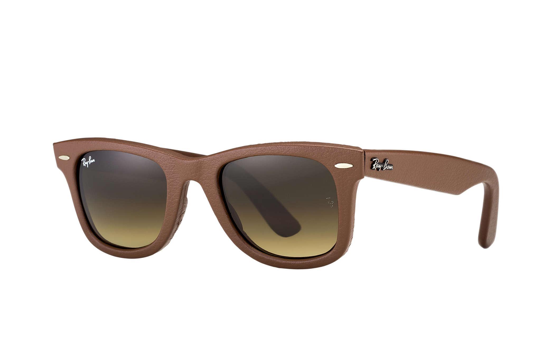 cc6dcd72f4 Lyst - Ray-Ban Wayfarer Leather in Brown