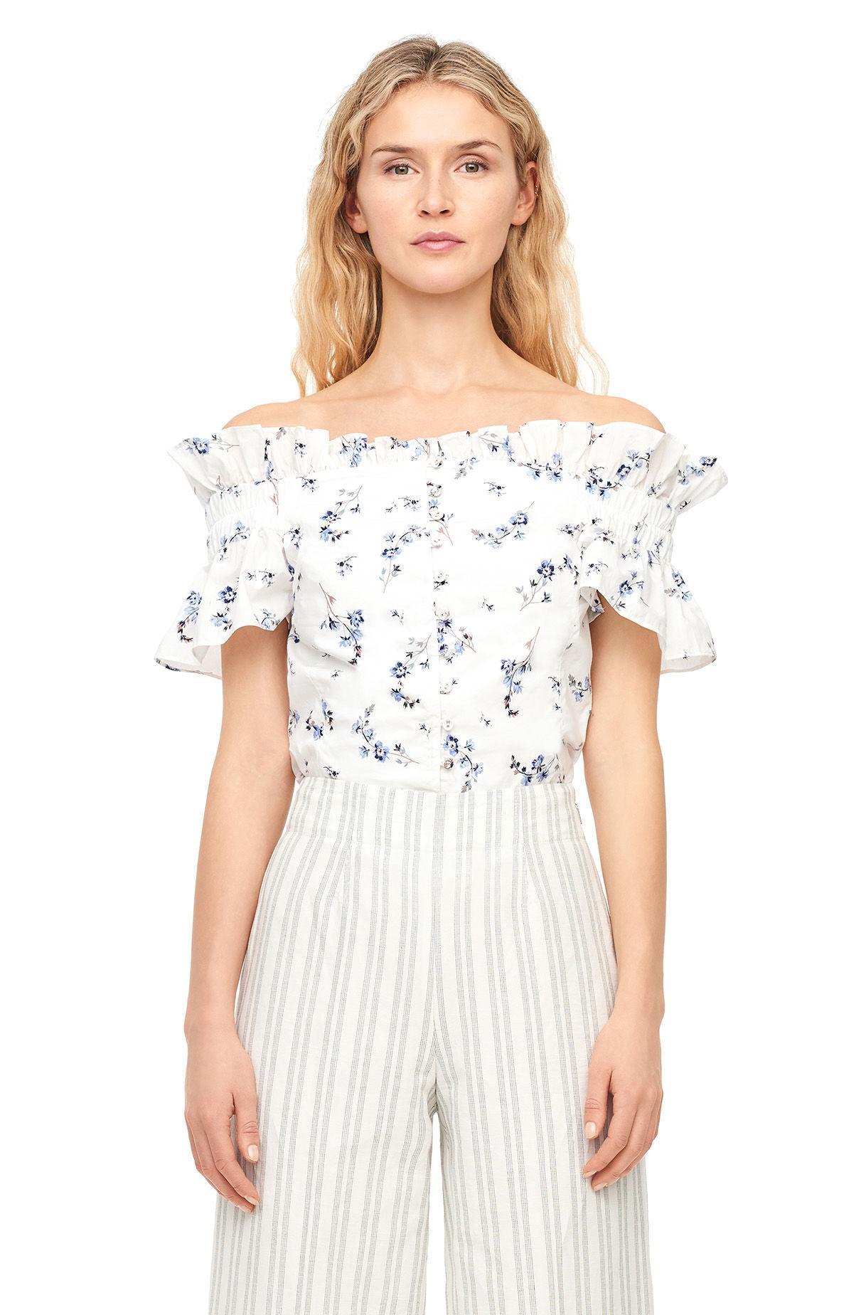 401c20b6be Lyst - Rebecca Taylor Off-the-shoulder Francine Floral Top