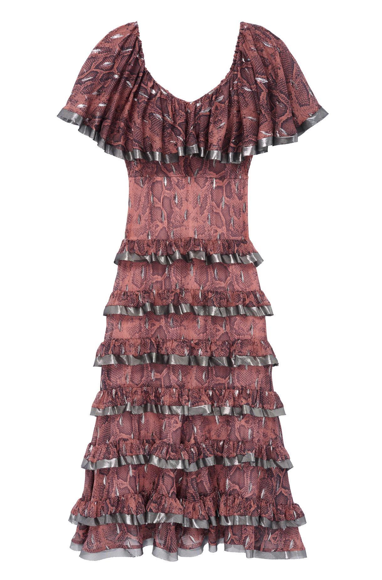 da1c8cbd4e8f Lyst - Rebecca Taylor Snake Print Tiered Ruffle Dress - Save 40%