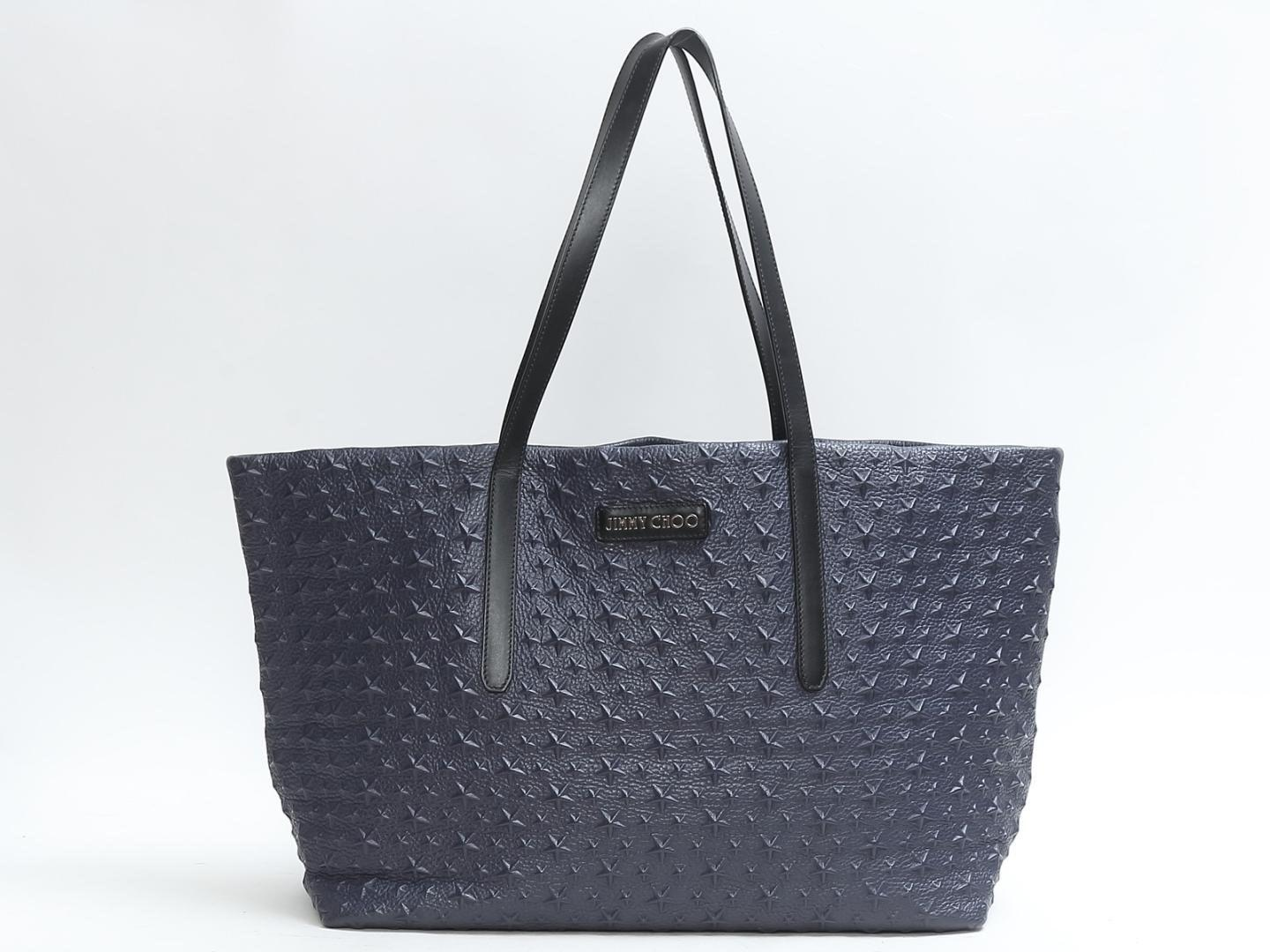 Jimmy Choo Women S Authentic Tote Bag Leather Blue Used Vintage