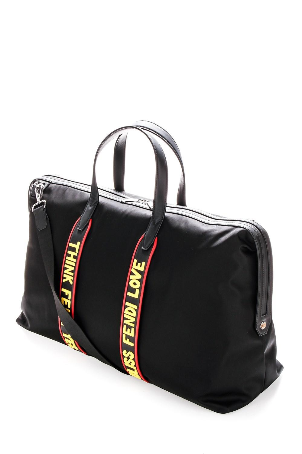 d3a54b4d3564 Lyst - Fendi Leather And Nylon Travel Bag in Black