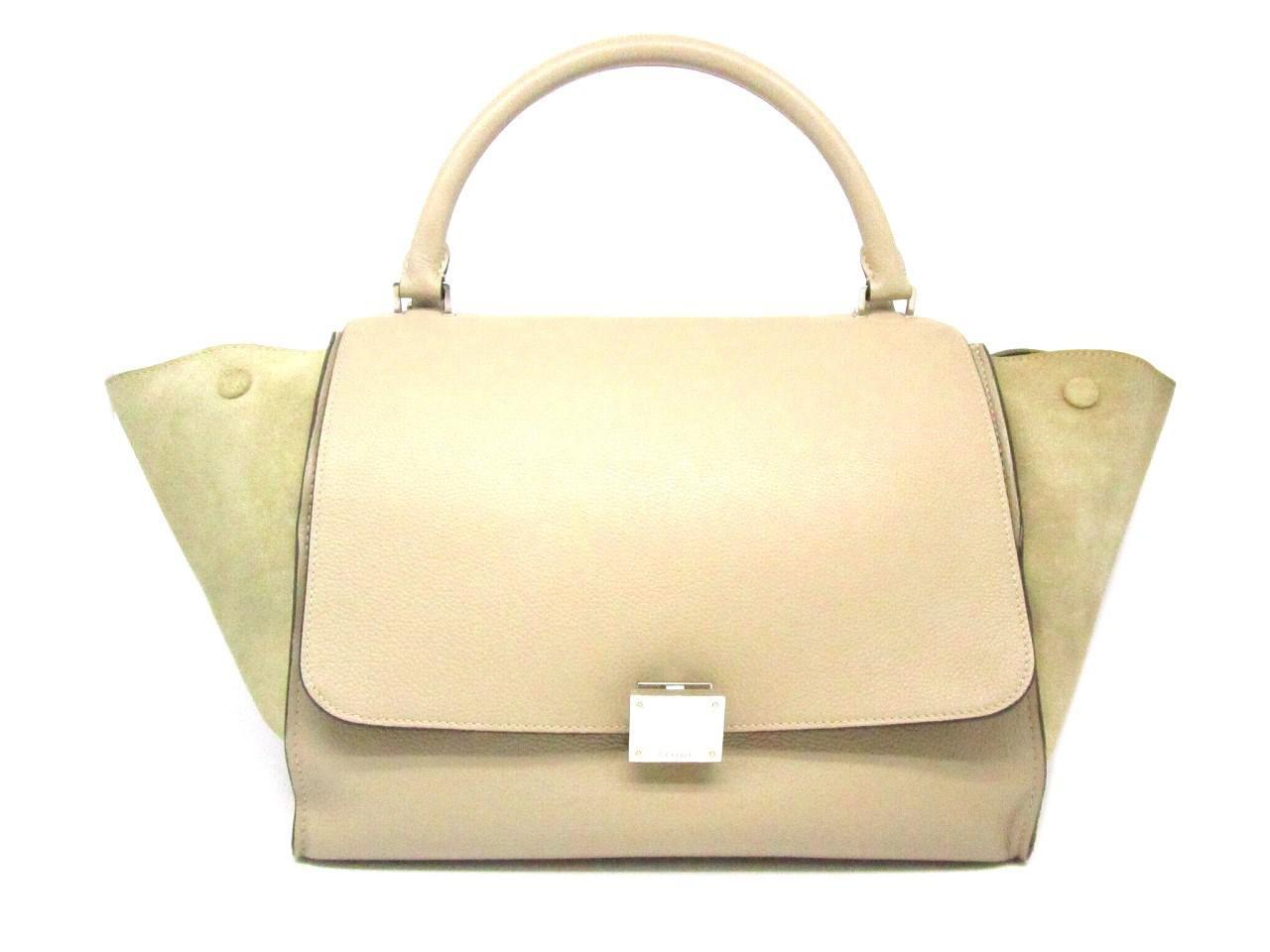 c4a920d389 Lyst - Céline Auth Calfskin  suede Leather Trapeze Shoulder Tote Bag ...