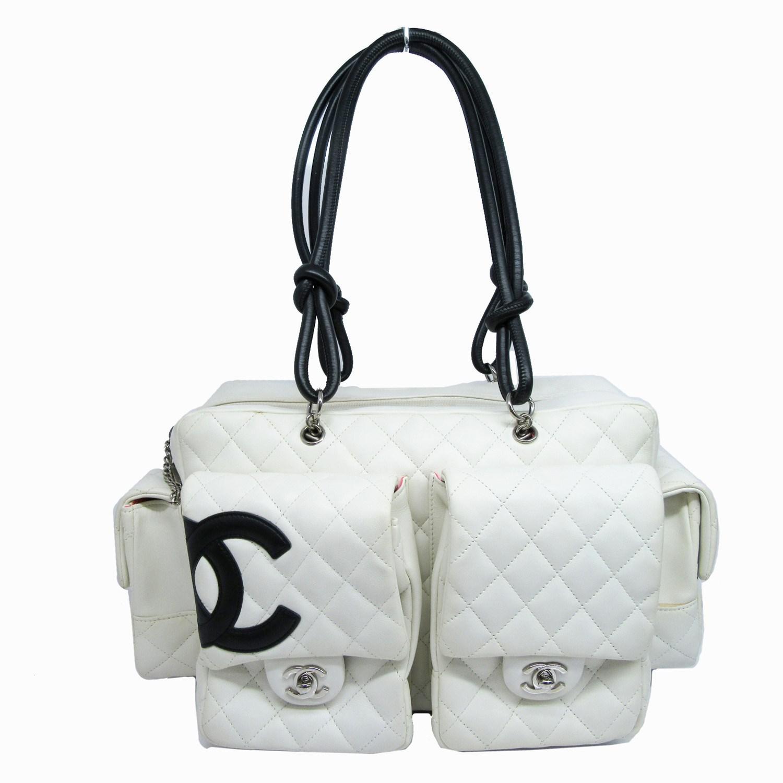2b9e8ec6f4af Chanel. Women's Auth Cambon Quilted Reporter Bag Shoulder Handbag White  Leather Vintage
