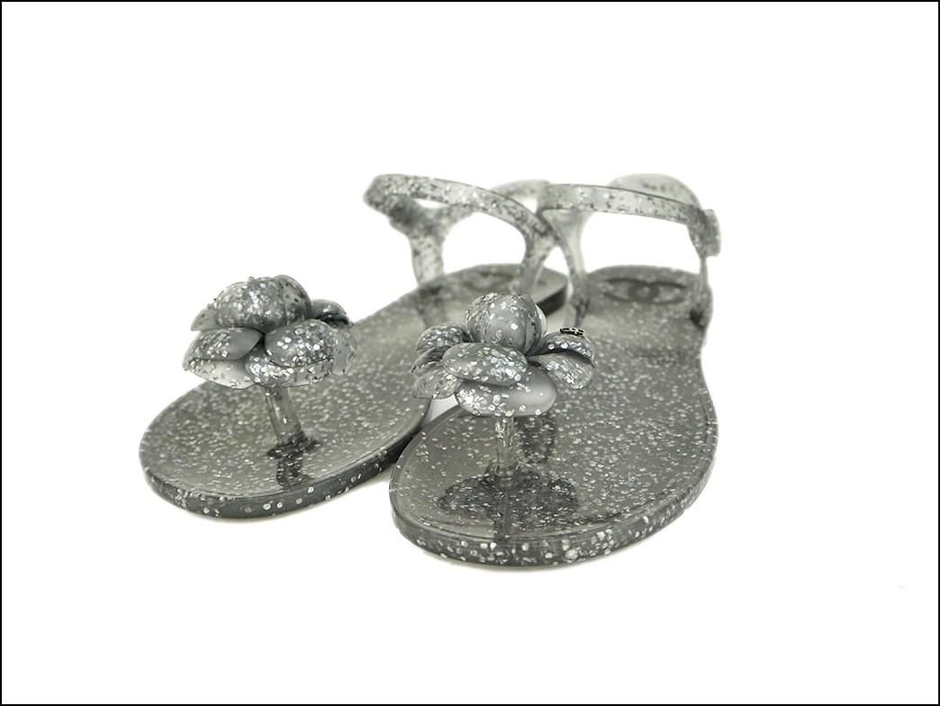 728993d25 Lyst - Chanel Camellia Rubber Thong Sandal Flat Shoes Silver Glitter ...